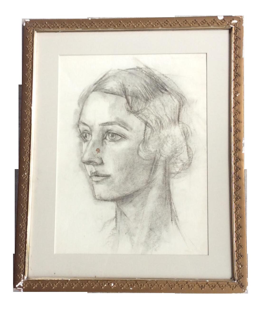 1920s Vintage Framed French Art Deco Female Portrait Sketch Chairish