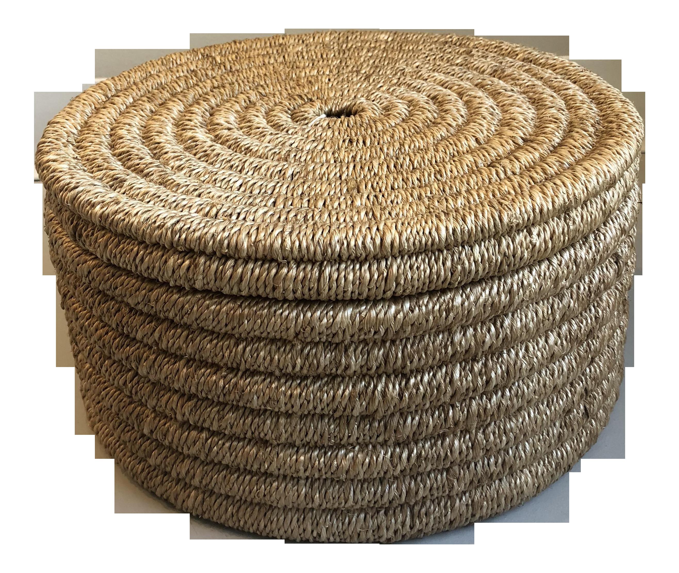 Boho Chic Made Goods Yvon Circular Natural Woven Rope Box