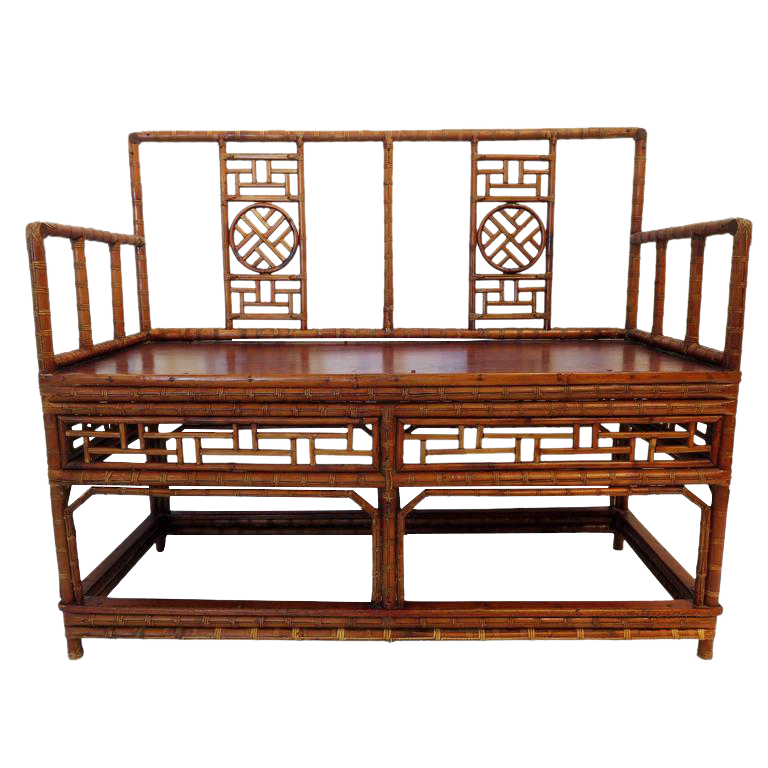Excellent Antique Chinese Bamboo Chinoiserie Settee Decaso