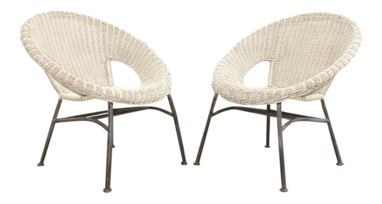 Mid Century Modern Wicker And Iron Stacking Saucer Chairs   A Pair |  Chairish