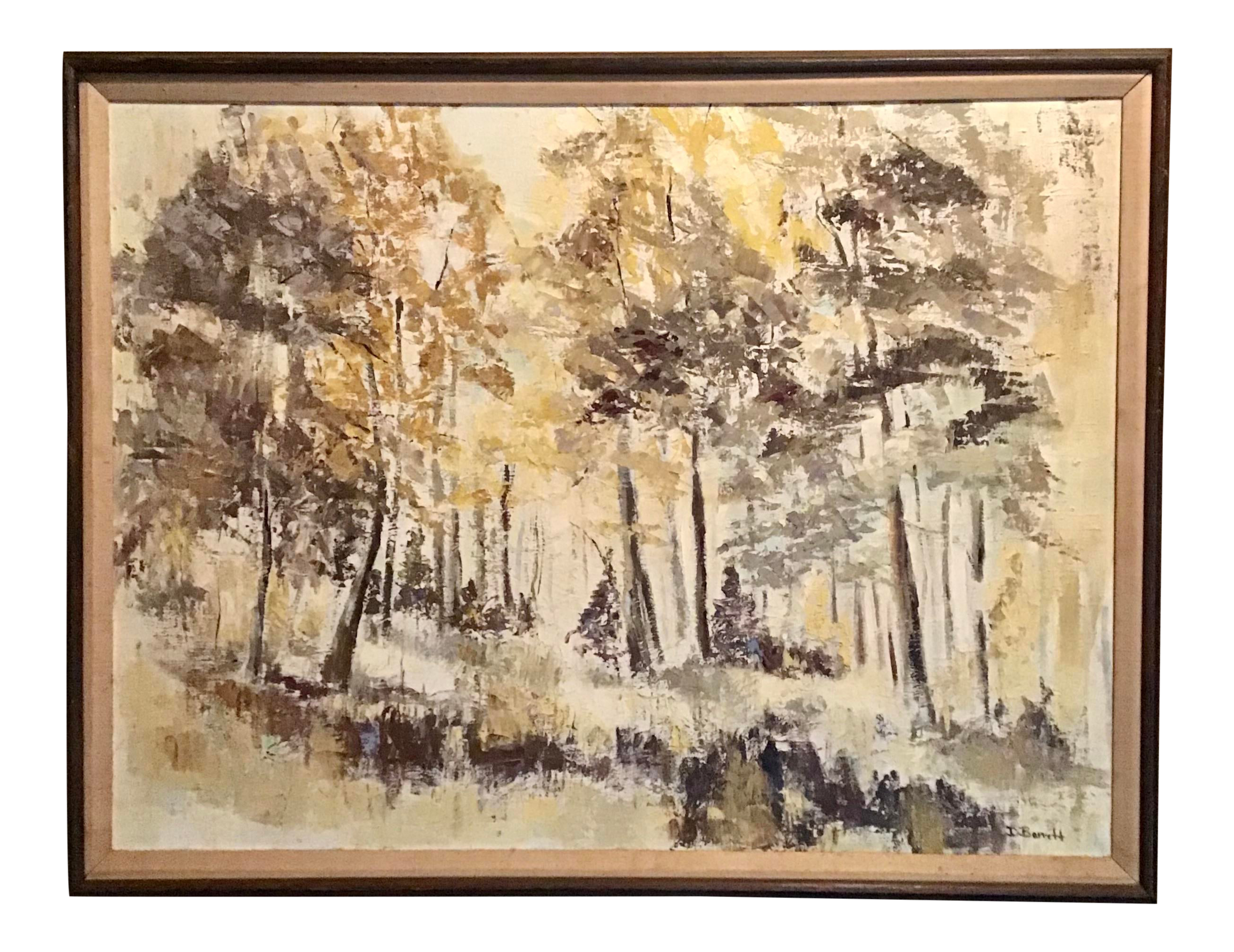 Picture of: Mid Century Modern Oil Landscape Painting On Canvas Signed D Barrett Chairish