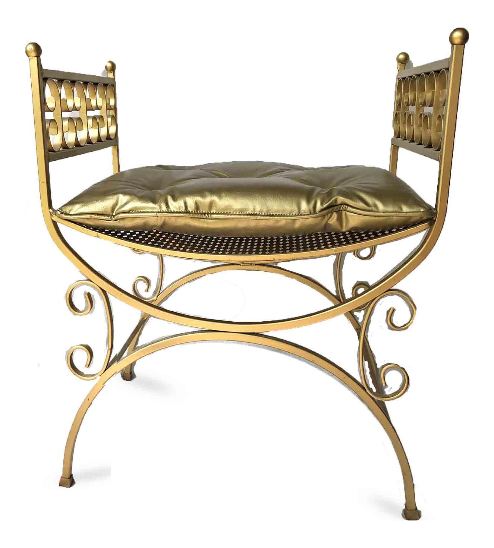 Vintage Hollywood Regency Gold Vanity Stool Chairish