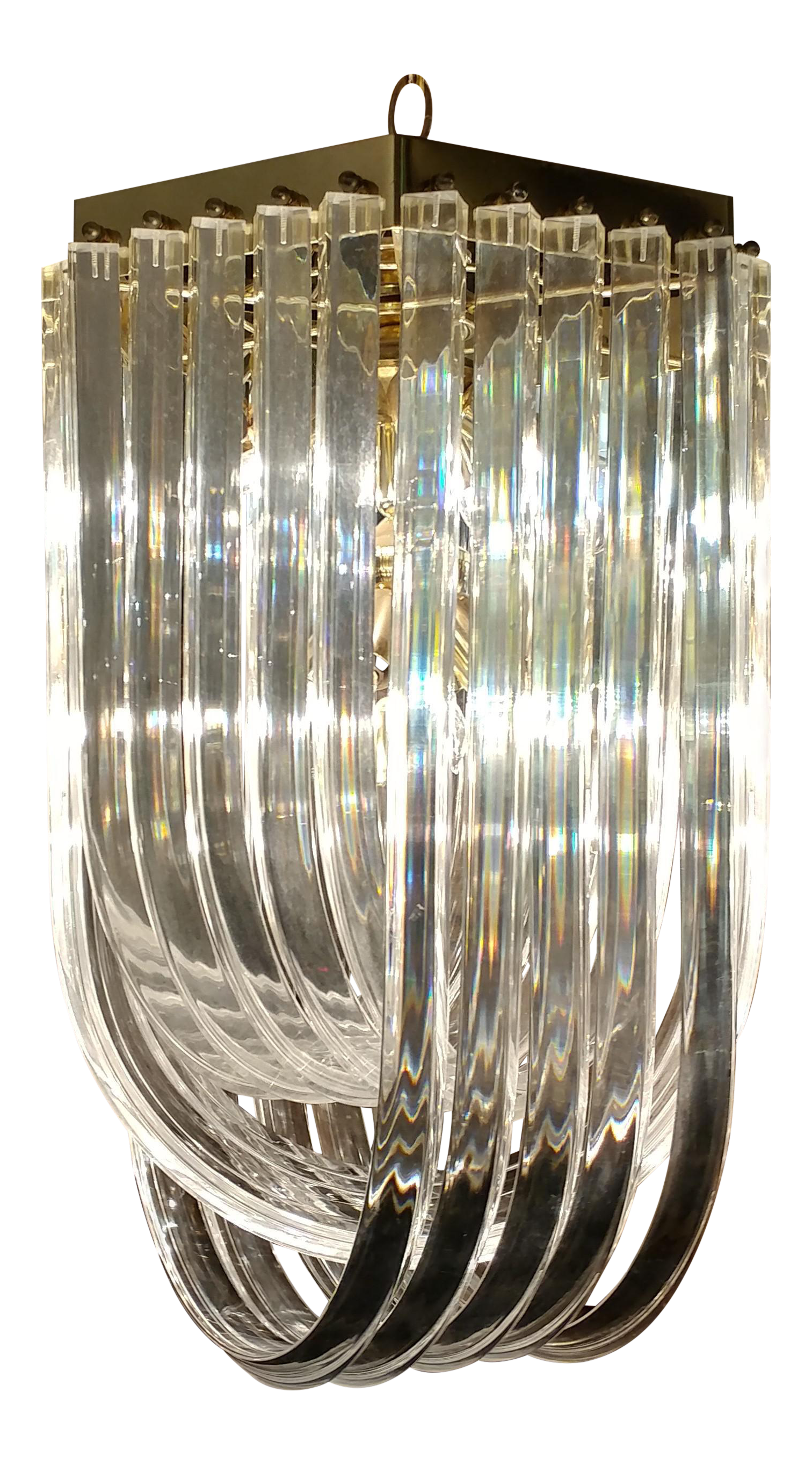 Mid Century Modern Curved Lucite & Brass Ribbon Chandelier