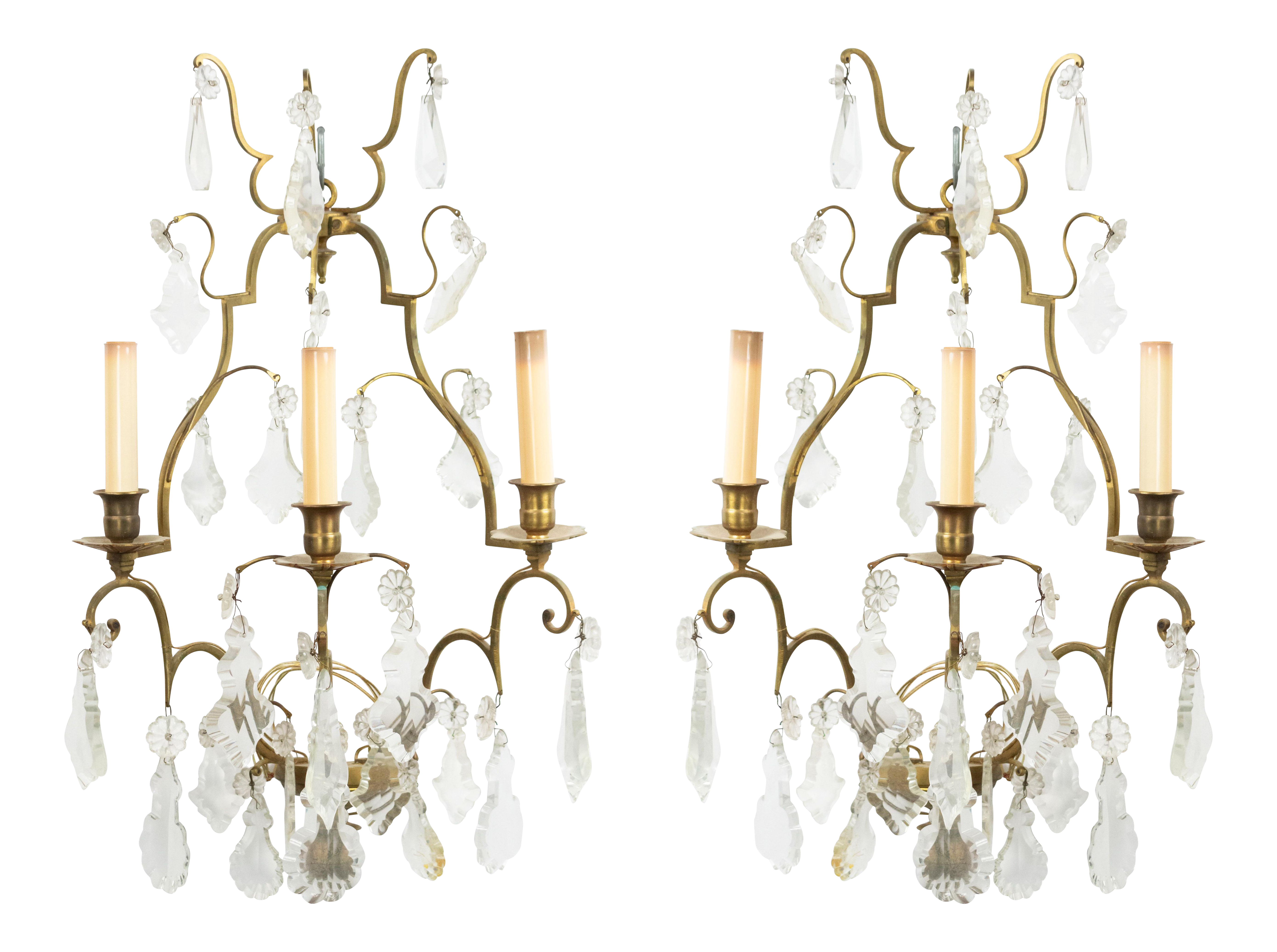 Image of: French Louis Xv Style Bronze And Crystal Wall Sconces Chairish