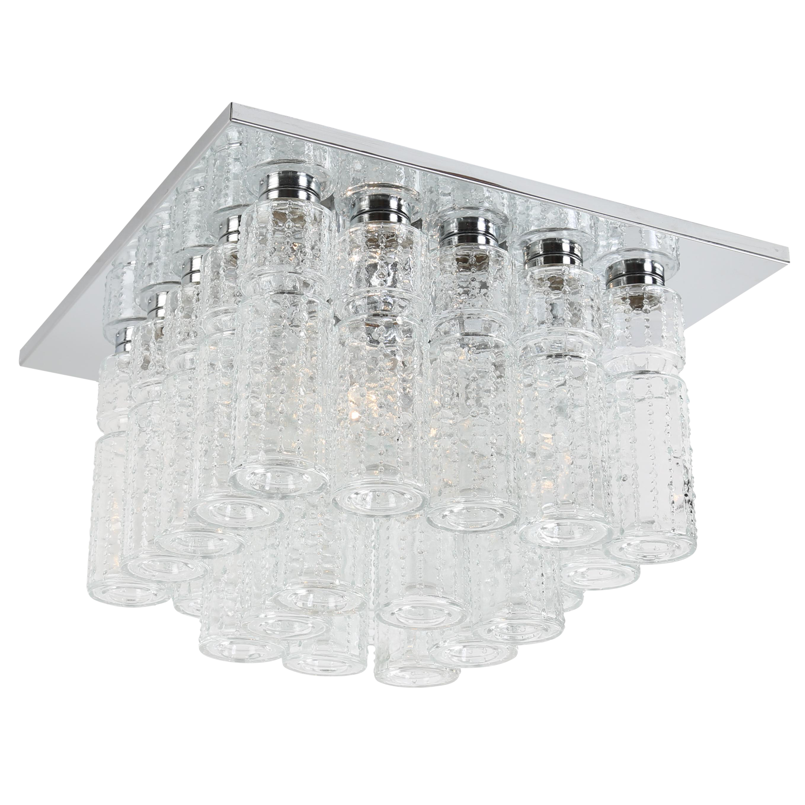shade en light finish chrome mount flush ceiling clear mercer product glass