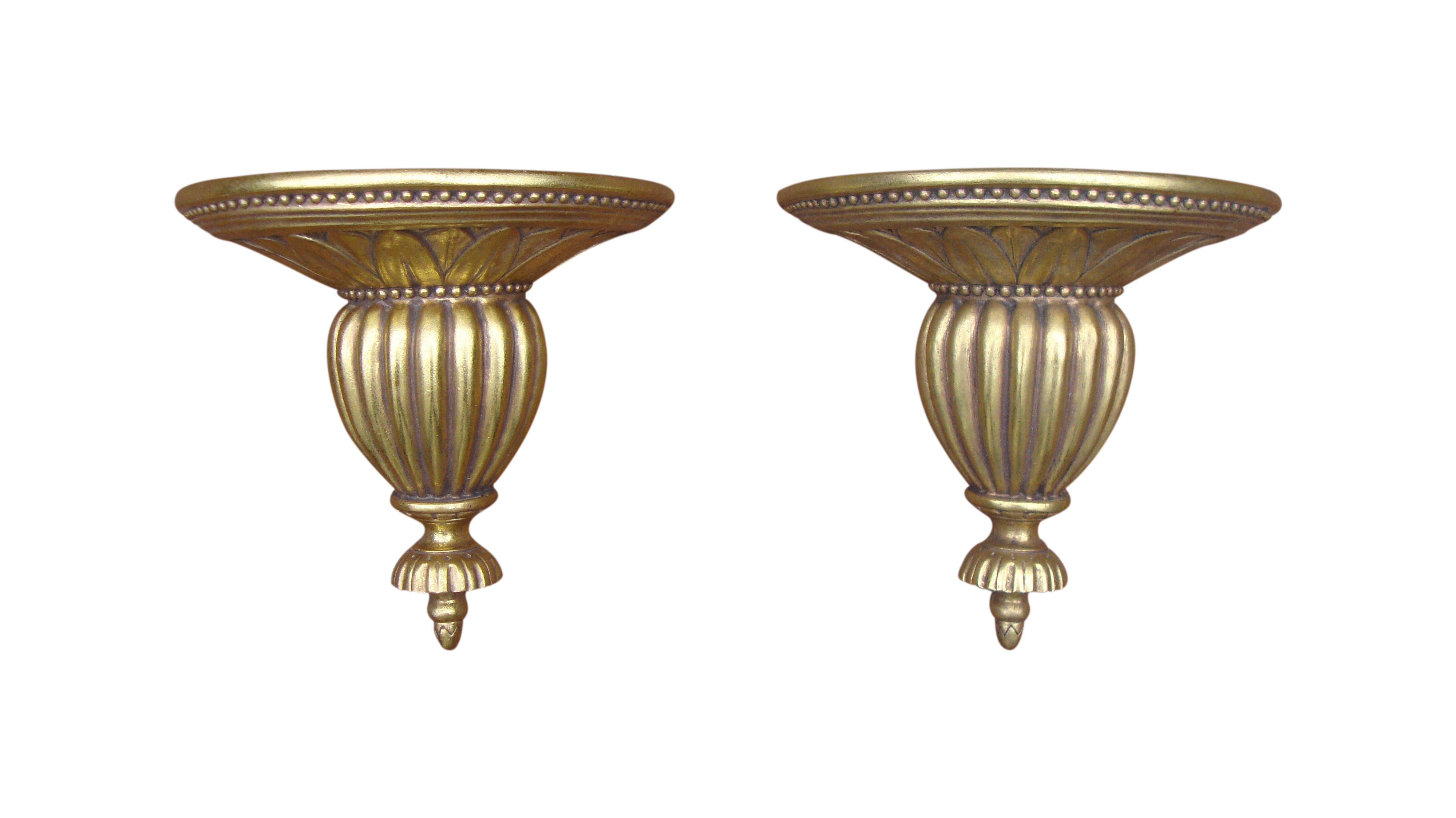 Gold Neoclassical Wood Sconce Shelves A Pair