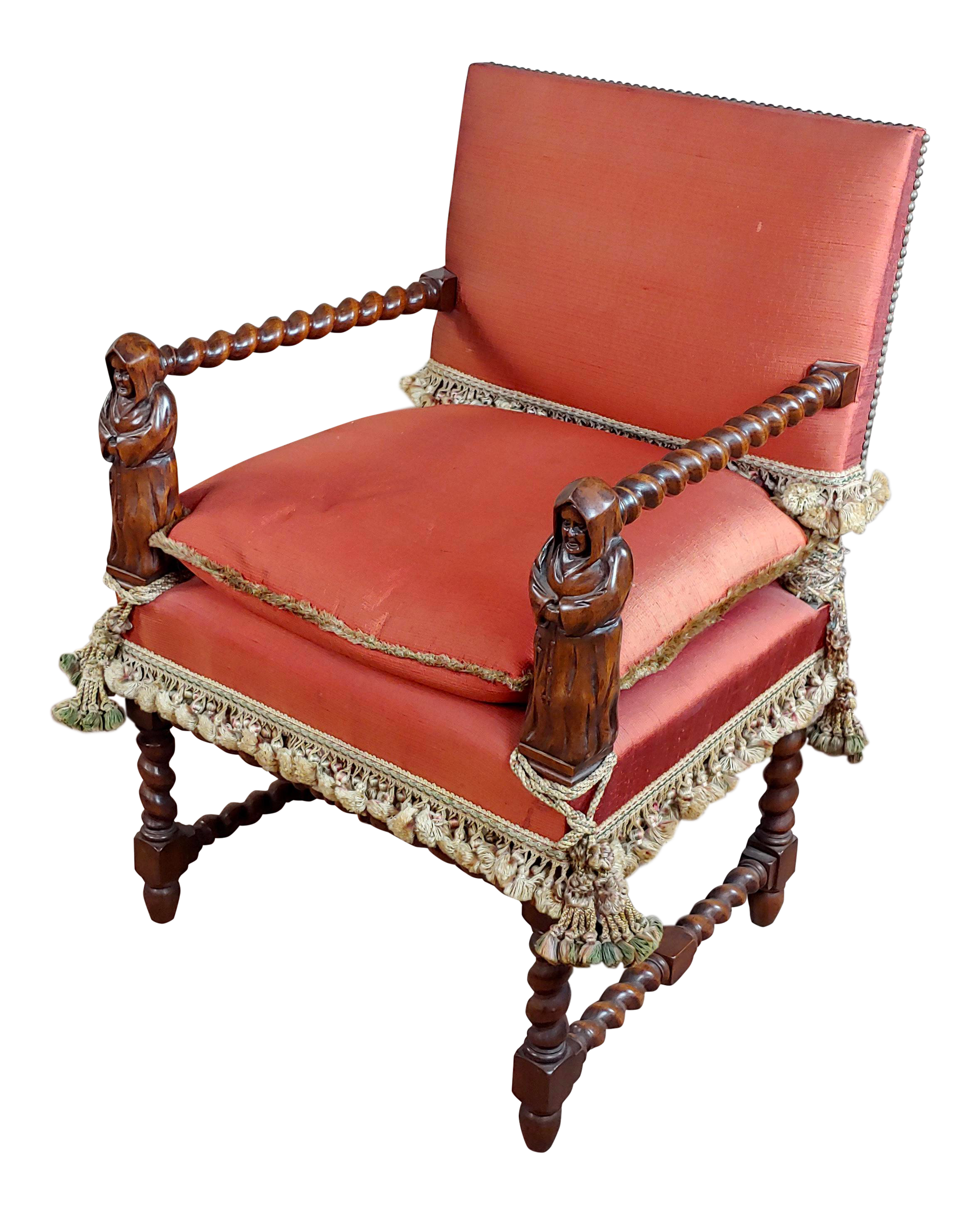 19th Century Baroque Red Upholstered Walnut Hall Chair Chairish