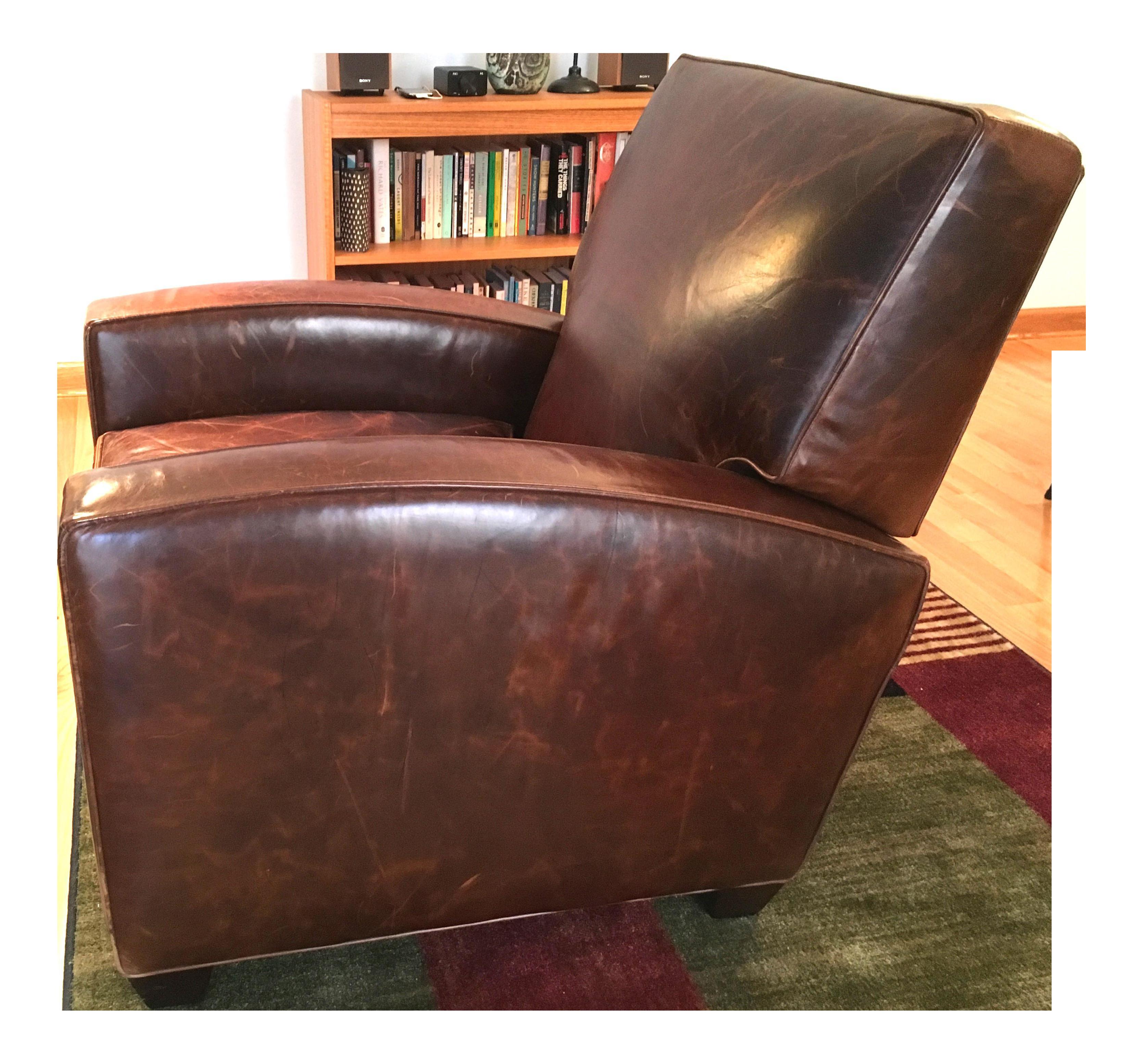 Restoration Hardware Leather Reclining Club Chair