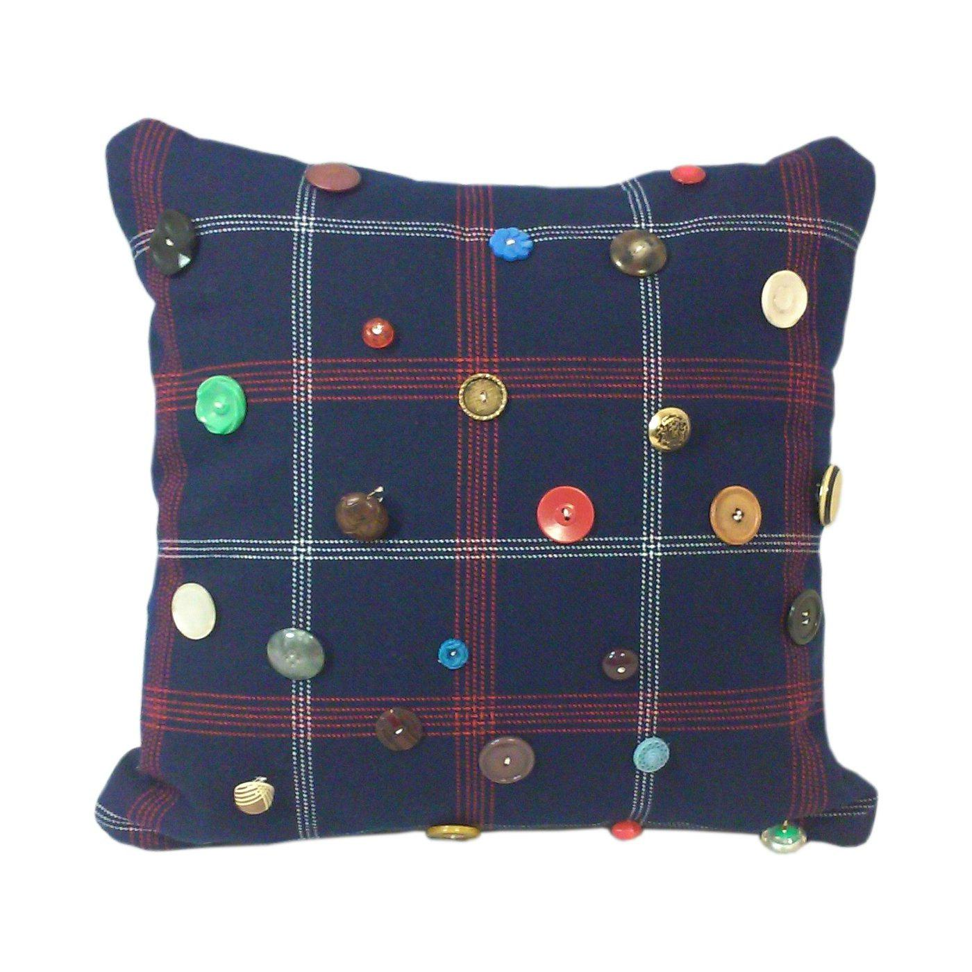 Red Green And Blue Throw Pillows : Red, White & Blue Plaid Vintage Button Throw Pillow Chairish