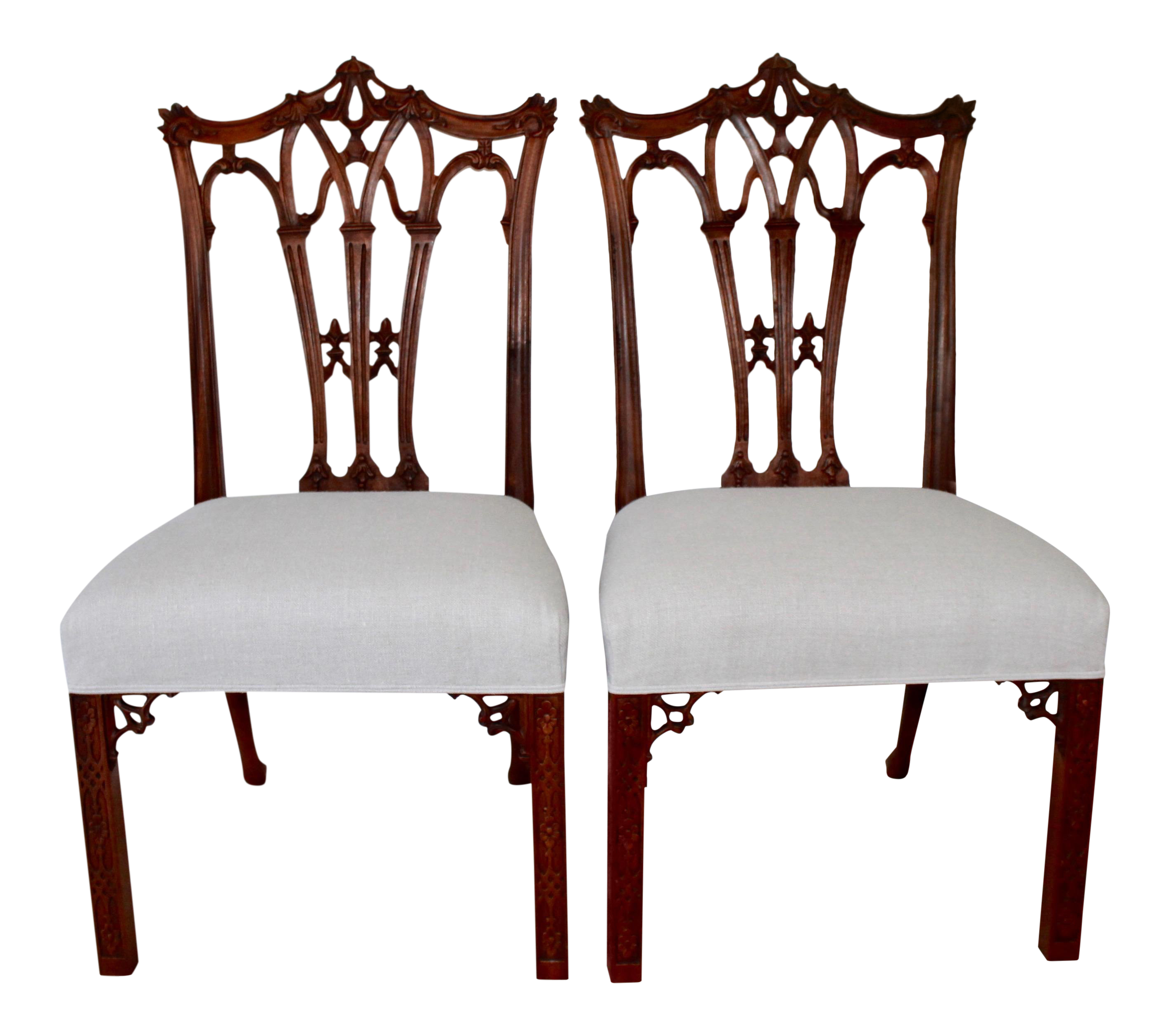 Fine Carved Mahogany Chinese Chippendale Chairs A Pair Decaso