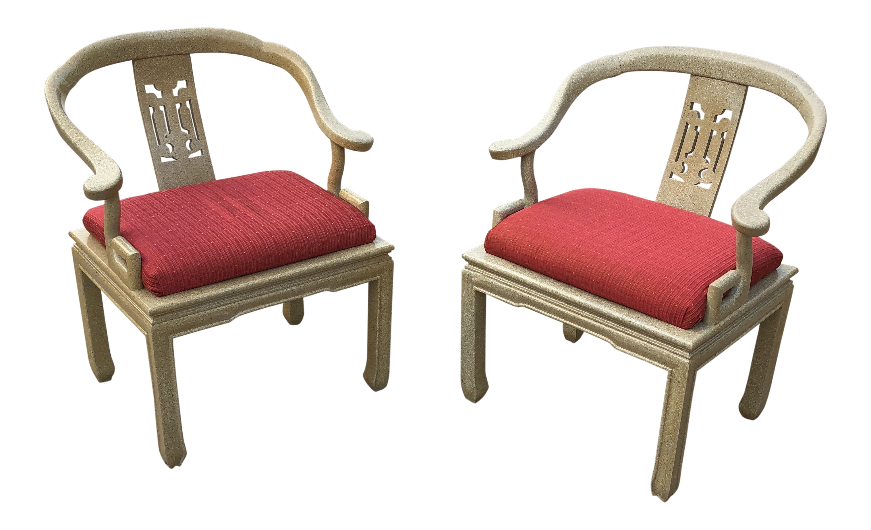 1970s Art Nouveau James Mont Ming Greek Key Wooden Chairs   A Pair |  Chairish