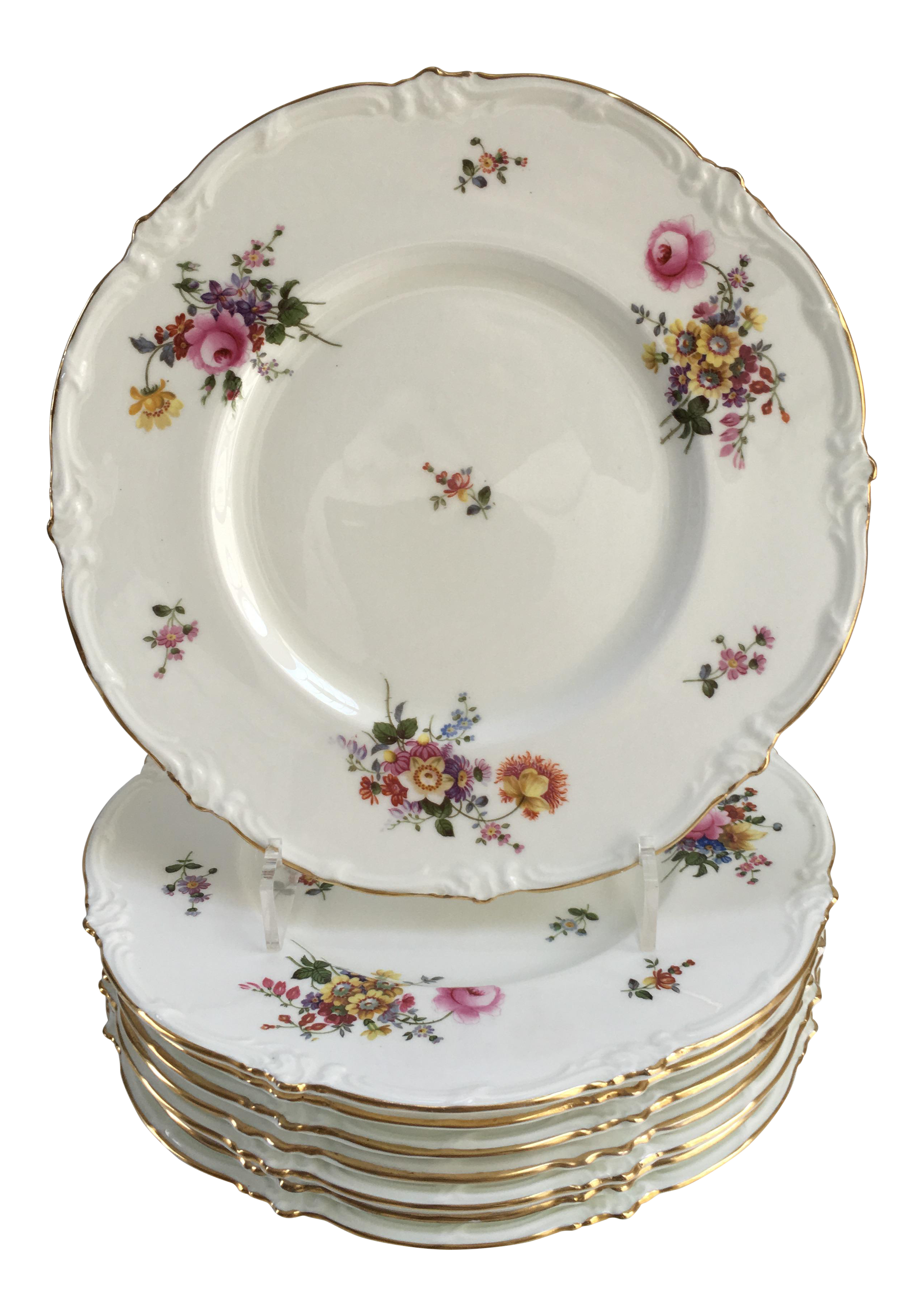 English Royal Cauldon Pink u0026 Gold Floral Fine China Dinner Plates - Set of 8 | Chairish  sc 1 st  Chairish : pink dinnerware plates - Pezcame.Com