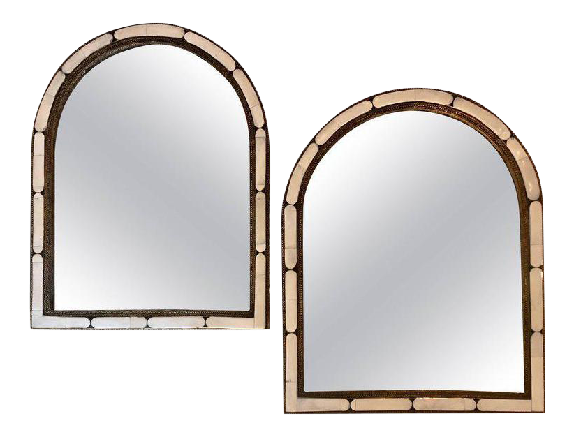 Incredible Large Hollywood Regency Style Moroccan White Camel Bone Mirrors A Pair Decaso