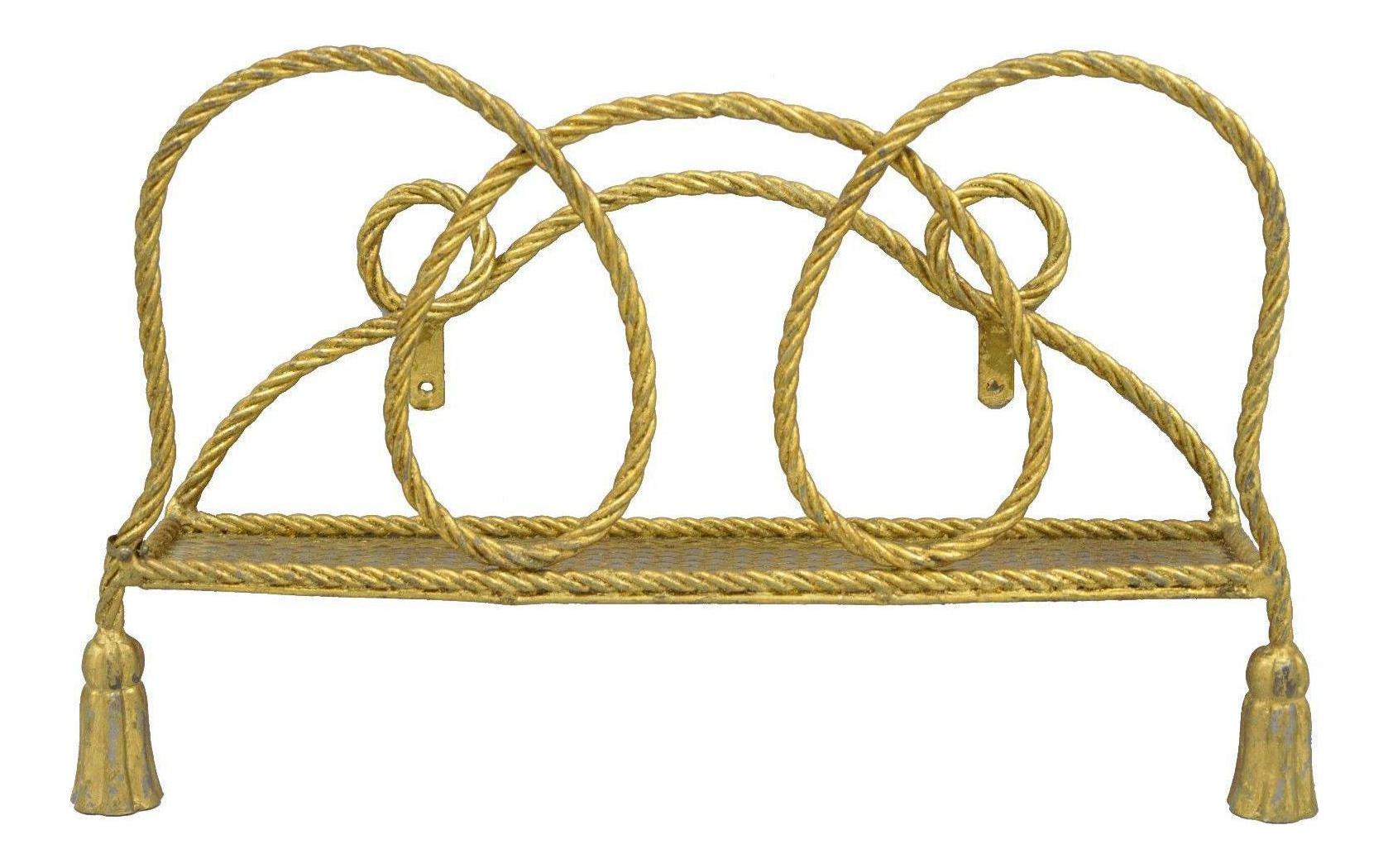 Vintage Italian Hollywood Regency Gold Rope Tassel Magazine Rack ...