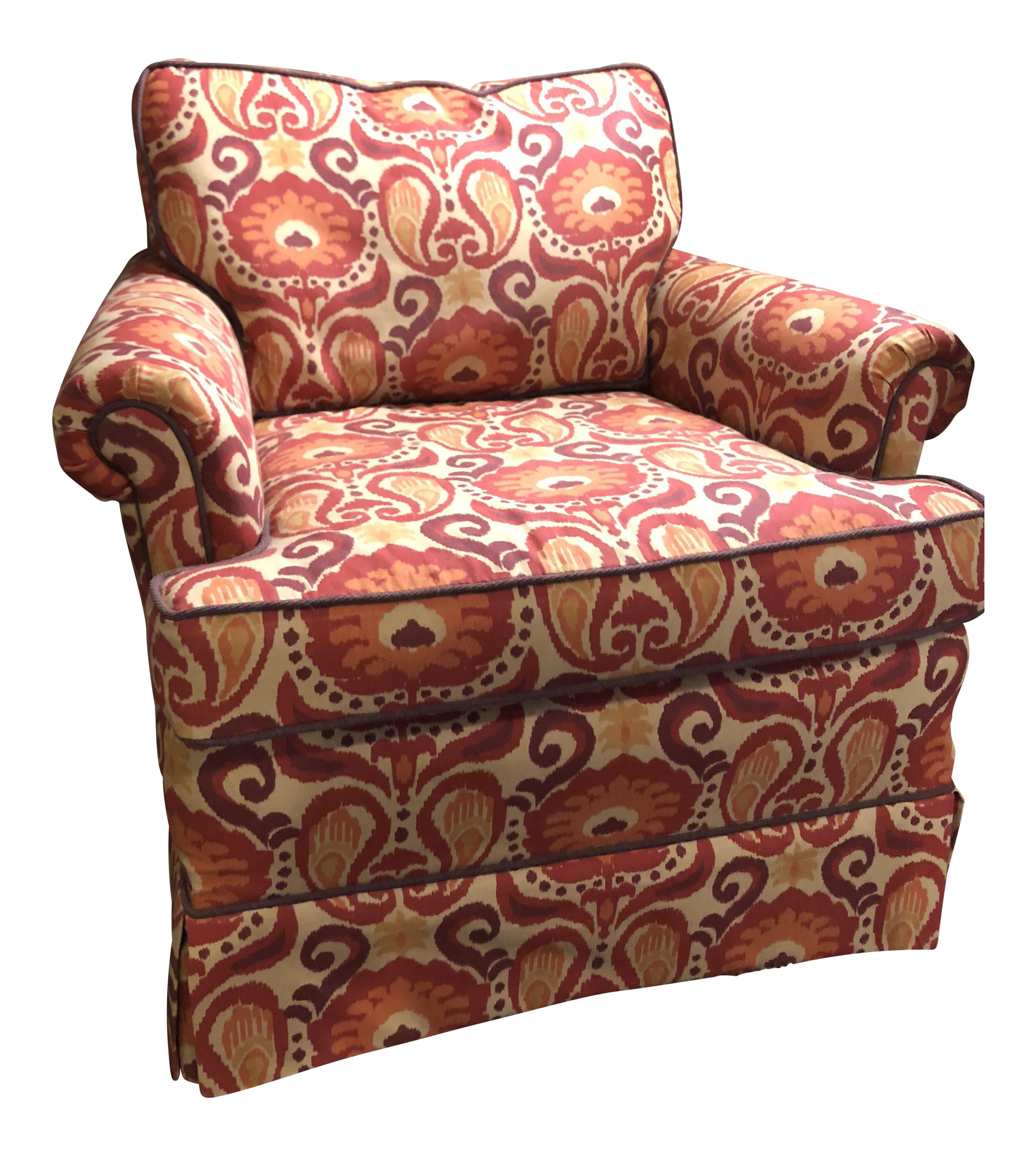 Red orange upholstered club chair chairish for Red and white upholstered chairs