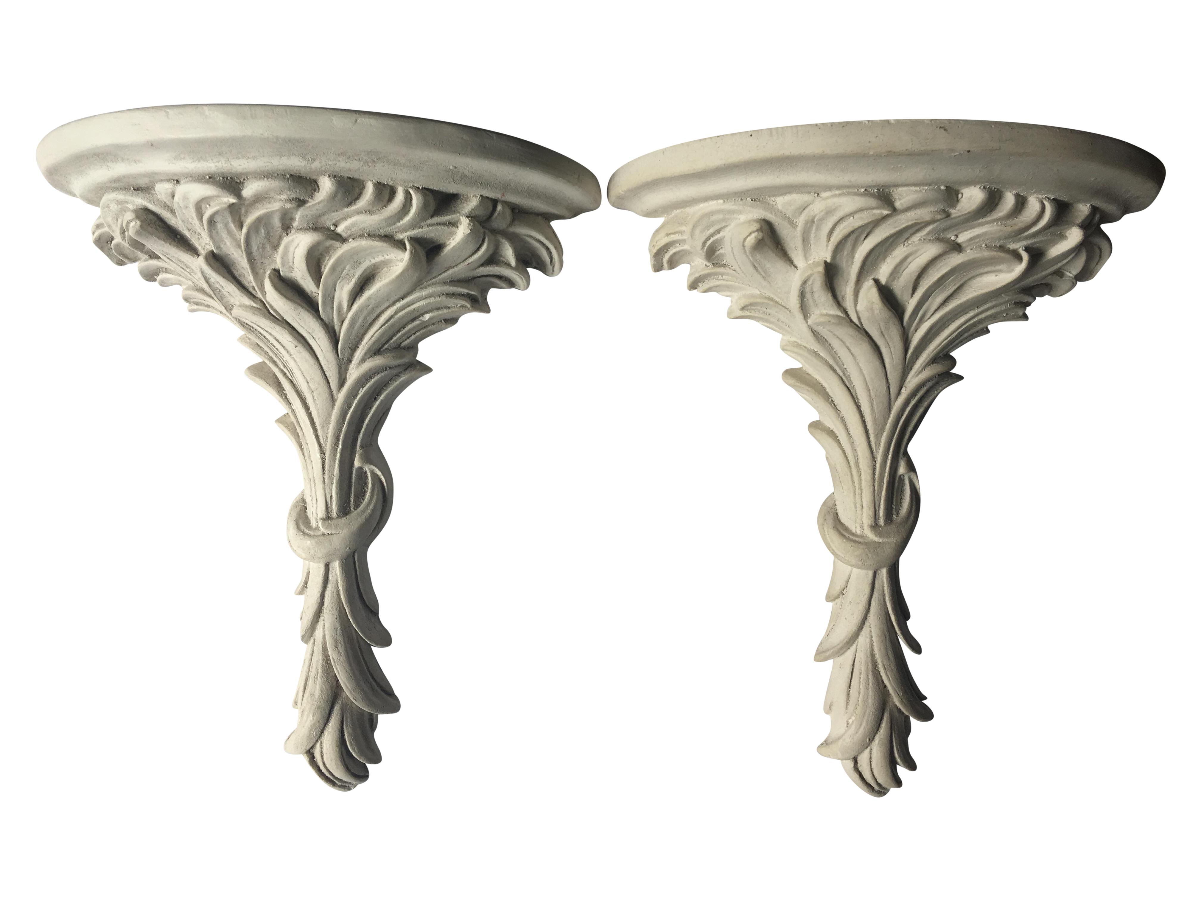 White Rococo Wall Sconce Shelves A Pair