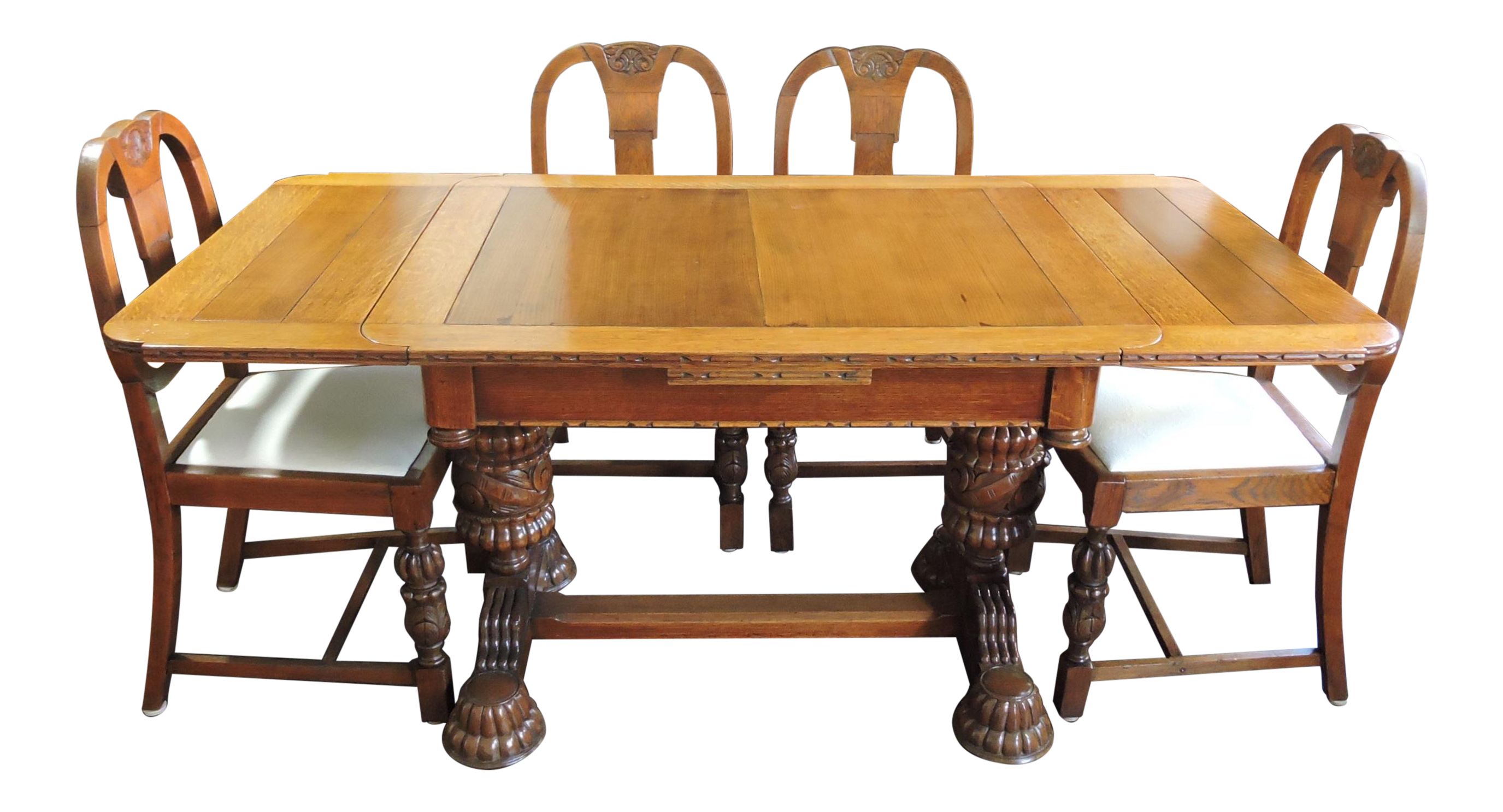 Brilliant Antique English Tiger Oak Library Refractory Dining Table Set Four Dinning Chairs Short Links Chair Design For Home Short Linksinfo