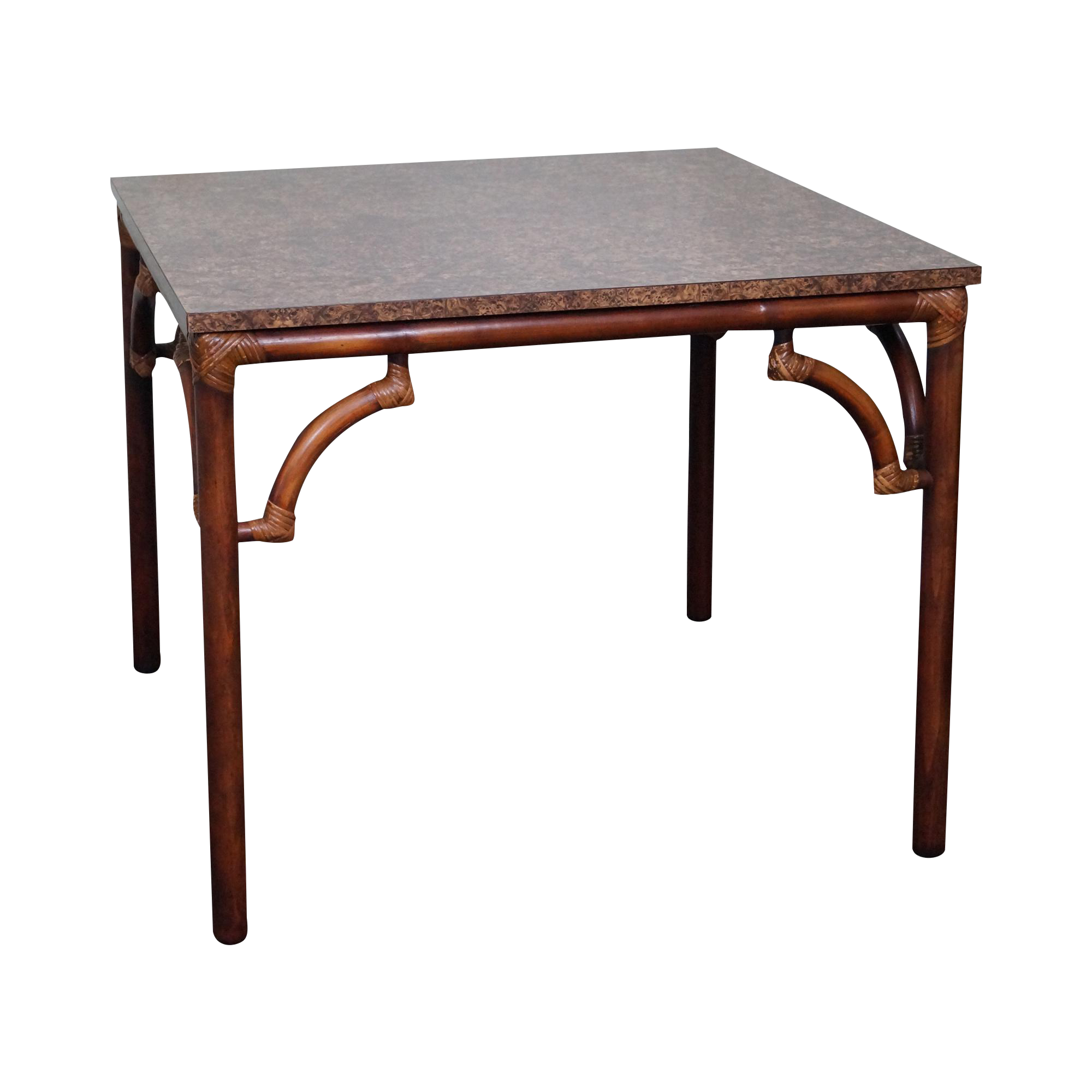 Wicker Kitchen Table: Vintage Square Rattan Bamboo Kitchen Table