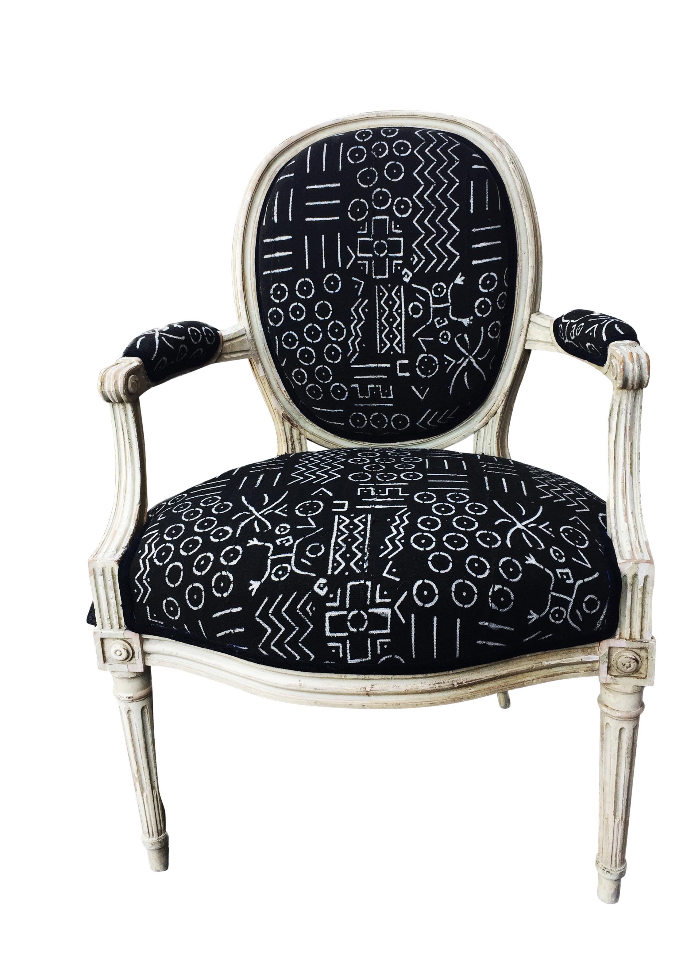 Magnificent Old French Chair W Black White Mud Cloth Ibusinesslaw Wood Chair Design Ideas Ibusinesslaworg
