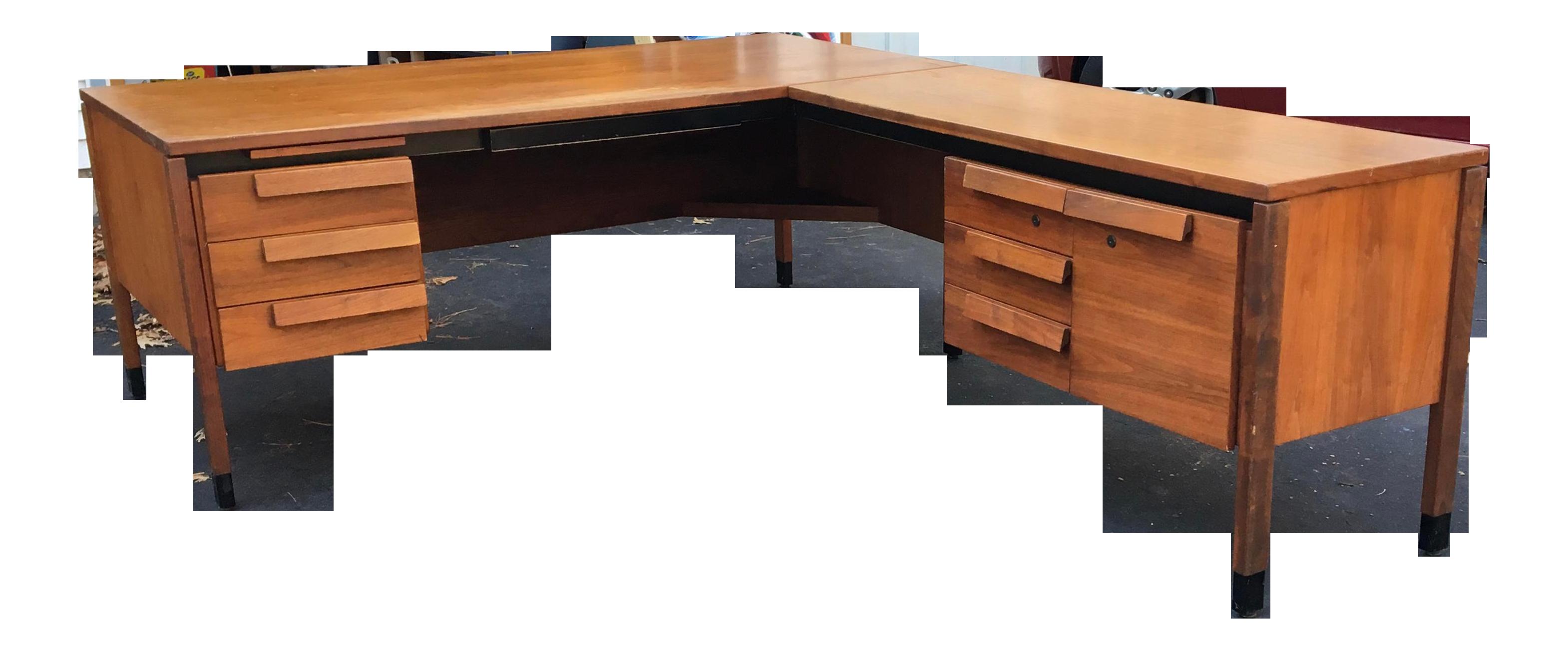 1960s Mid Century Modern Jens Rissom Style L Shaped Executive Desk Chairish