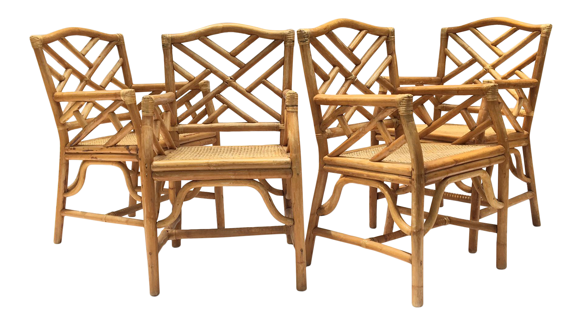 Chinese Chippendale Mcguire Style Rattan Bamboo Arm Dining