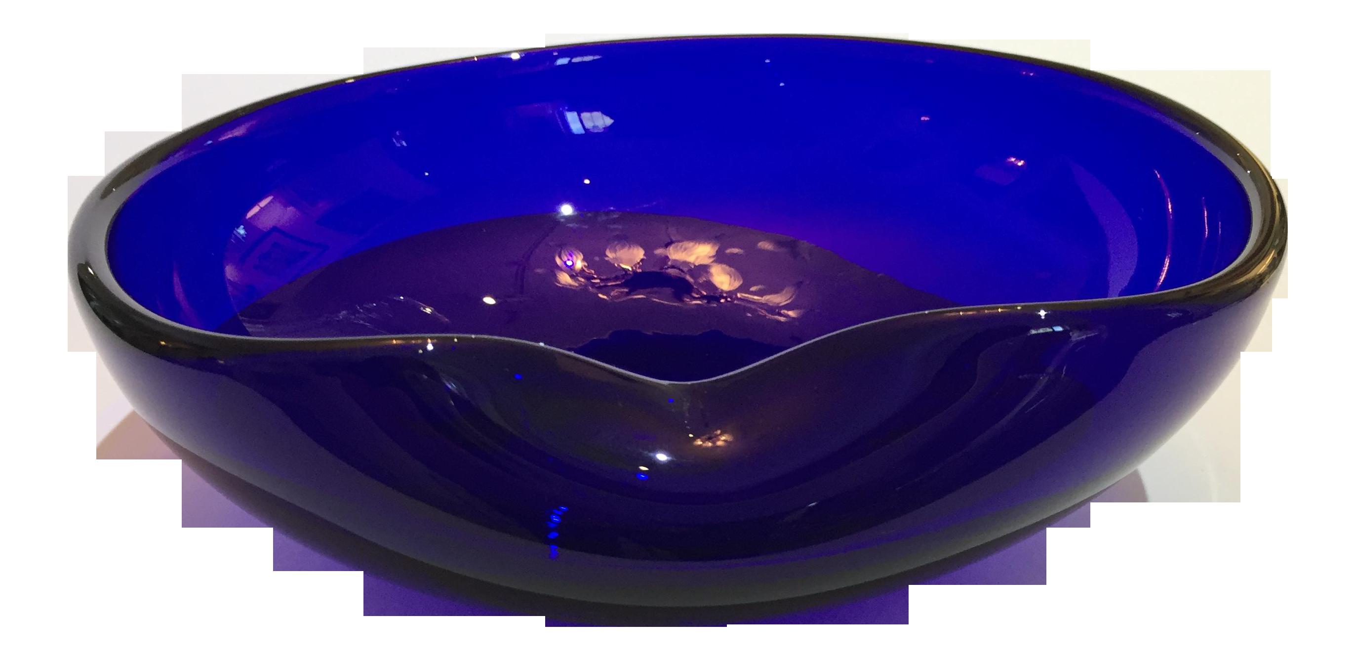 Vintage Cobalt Blue Thumbprint Bowl