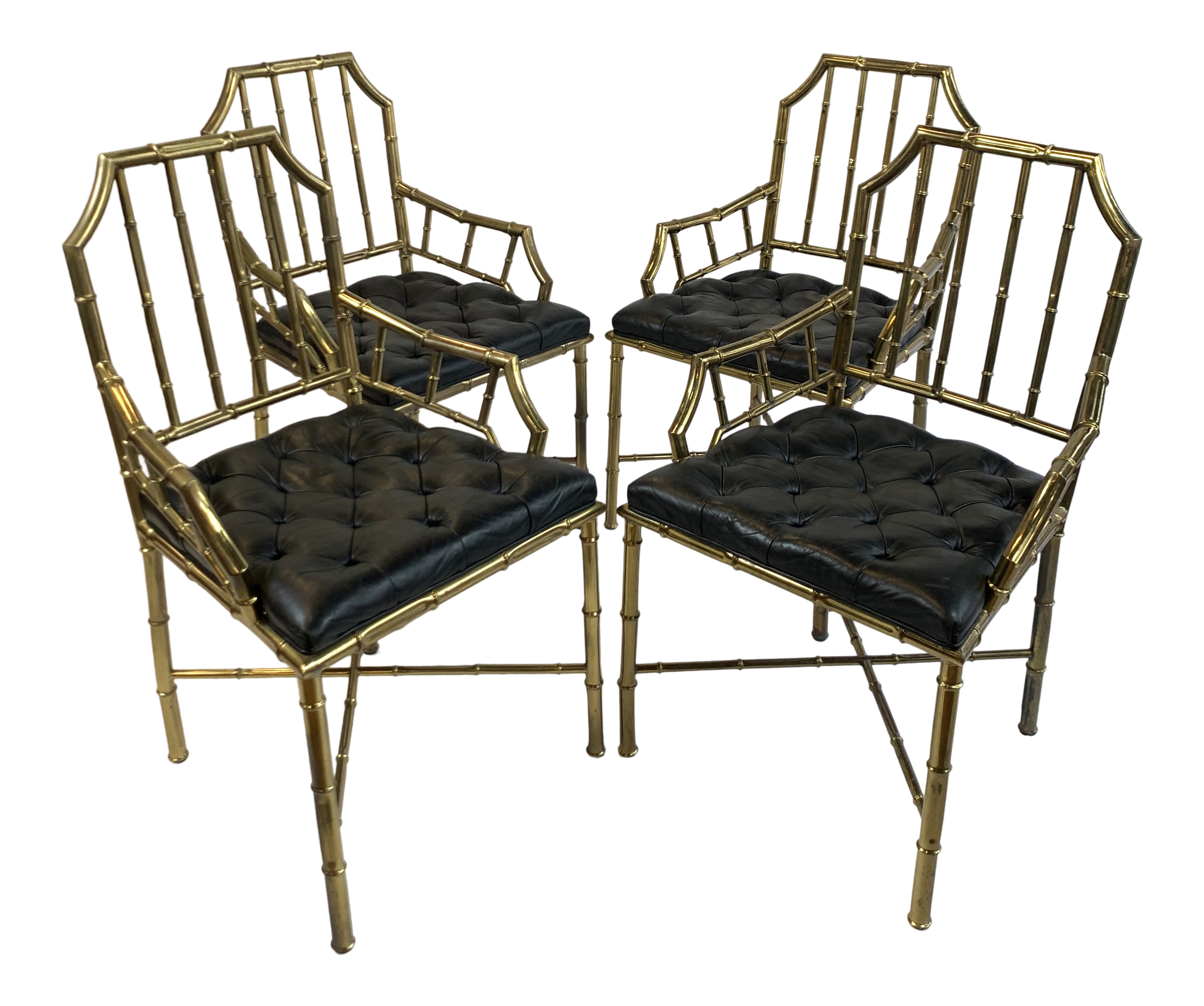 1950s Vintage Brass And Leather Faux Bamboo Chippendale Dining