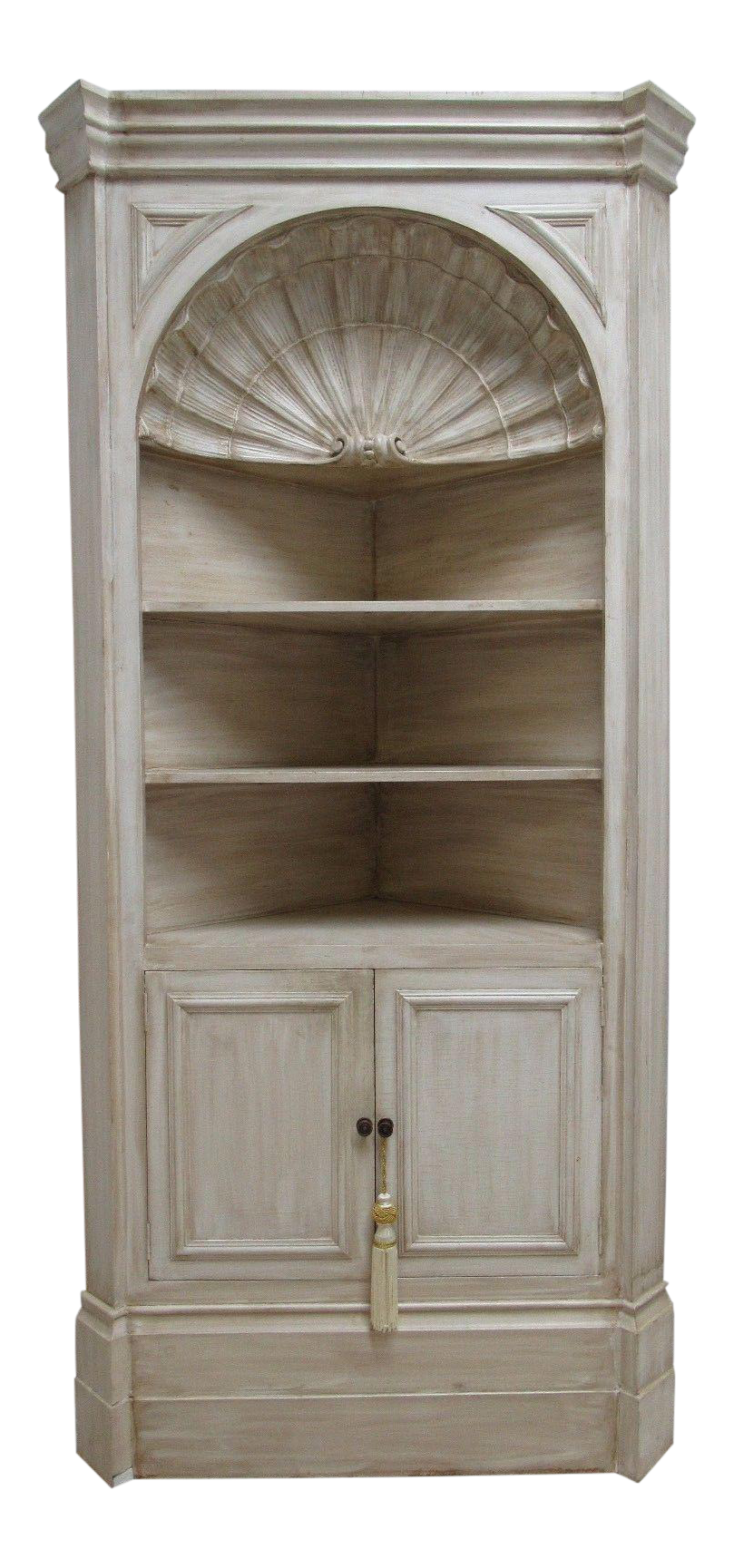 Vintage Custom Made Italian Distressed Shell Carved Corner Cabinet
