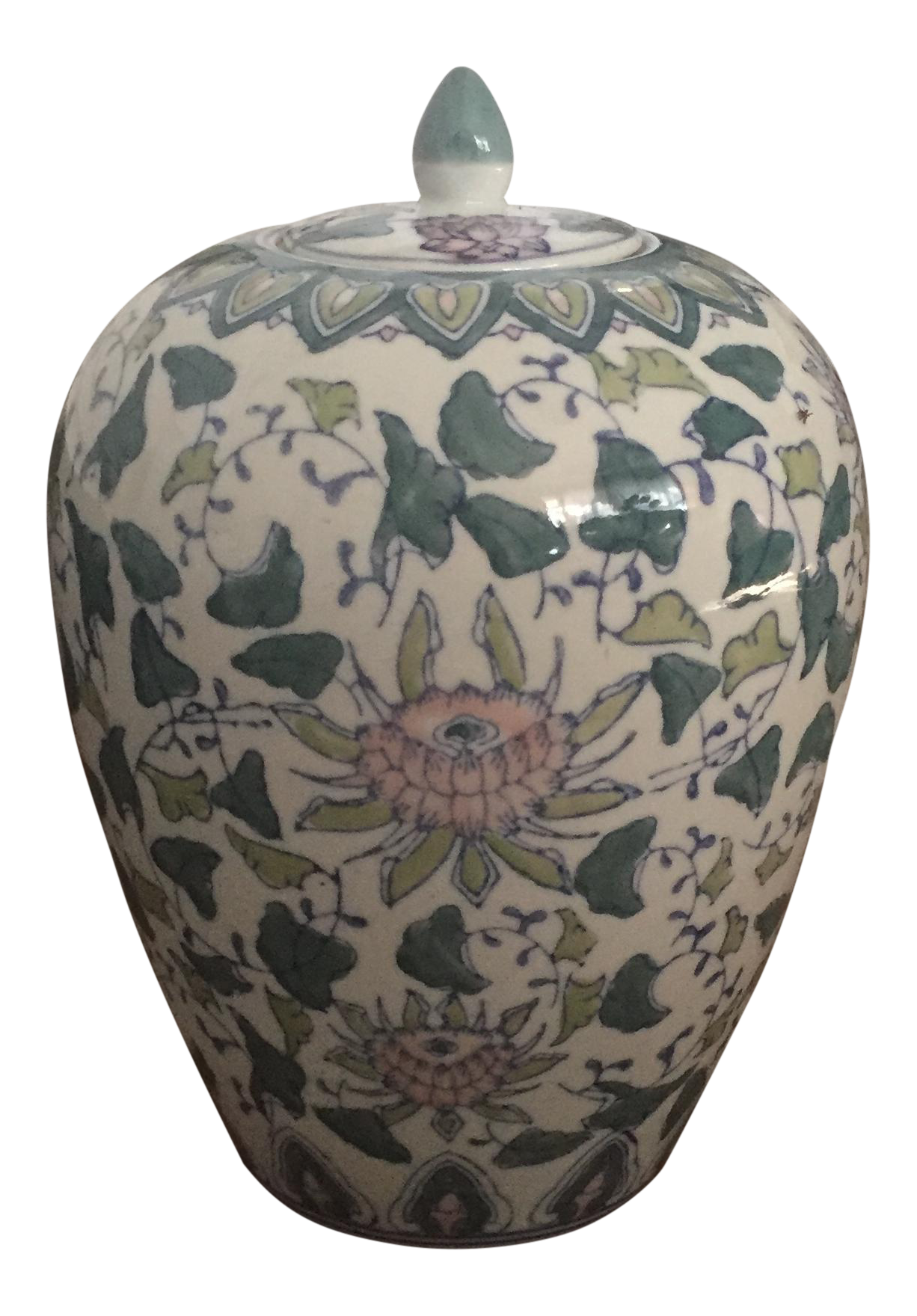 Vintage used asian antique ginger jars chairish chinoiserie asian pink green floral ginger jar reviewsmspy