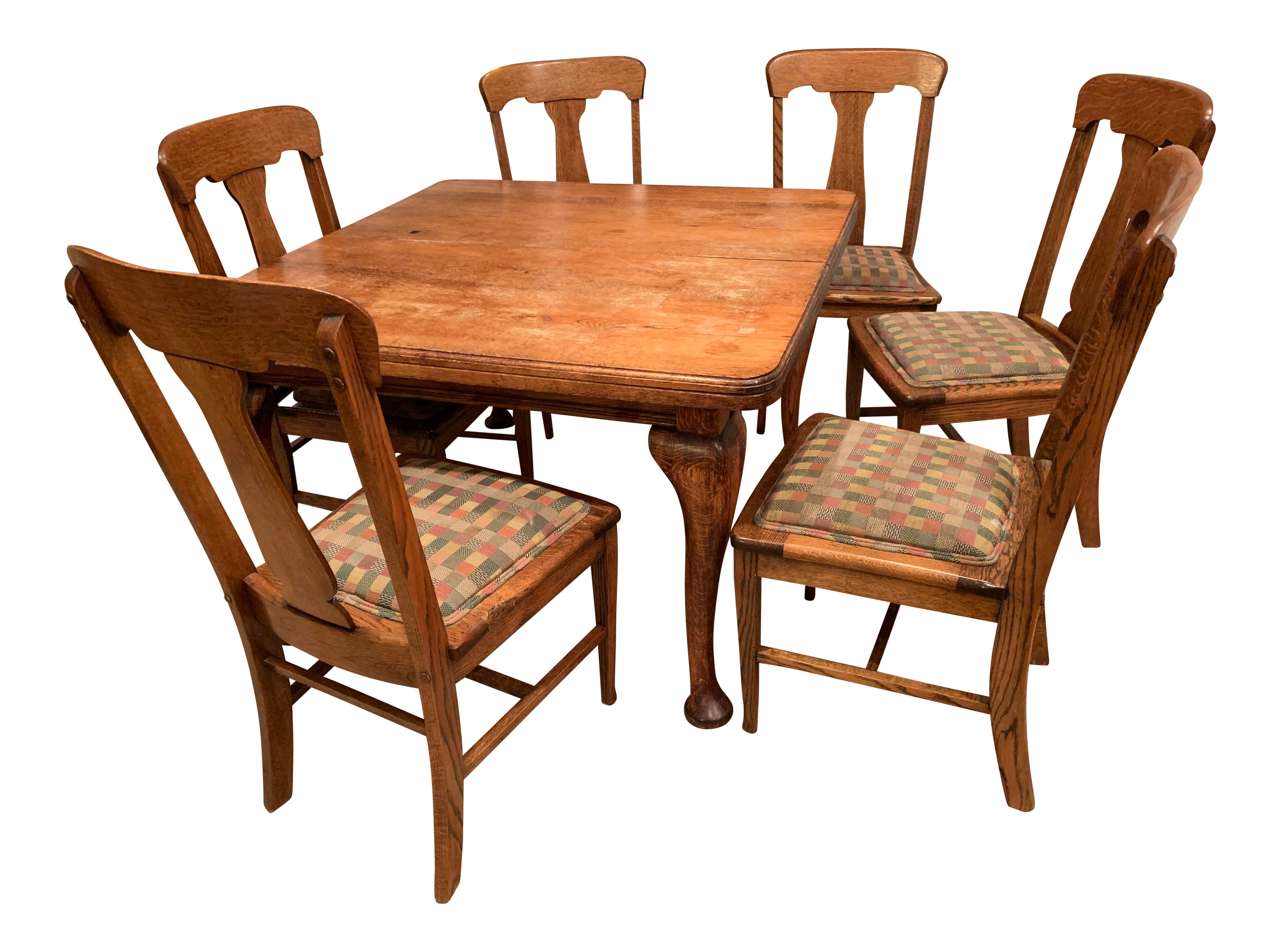 Cool Antique Queen Anne Style Oak Dining Set Download Free Architecture Designs Scobabritishbridgeorg
