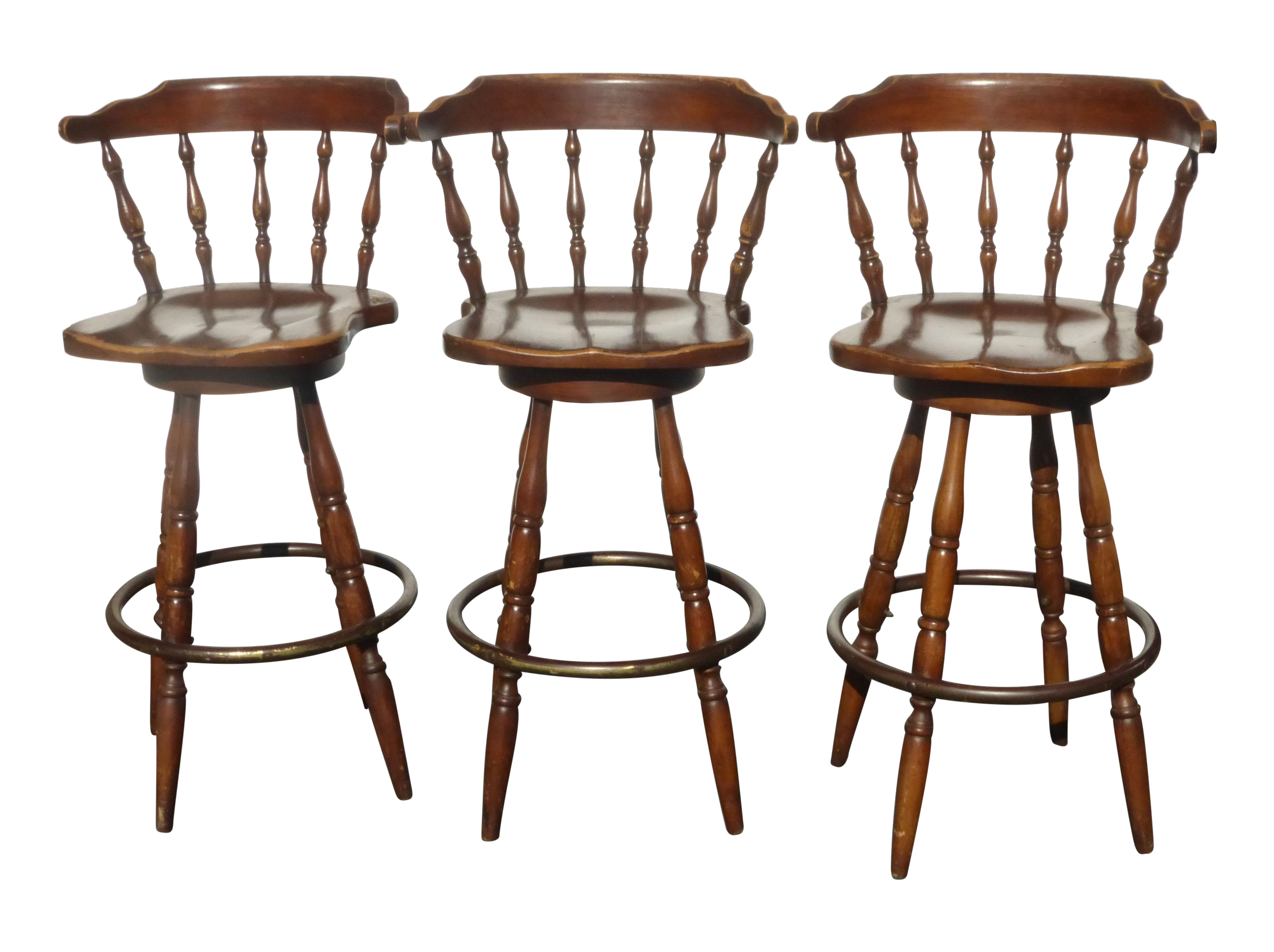 wooden swivel bar stools French Country Wood Swivel Bar Stools   Set of 3 | Chairish wooden swivel bar stools