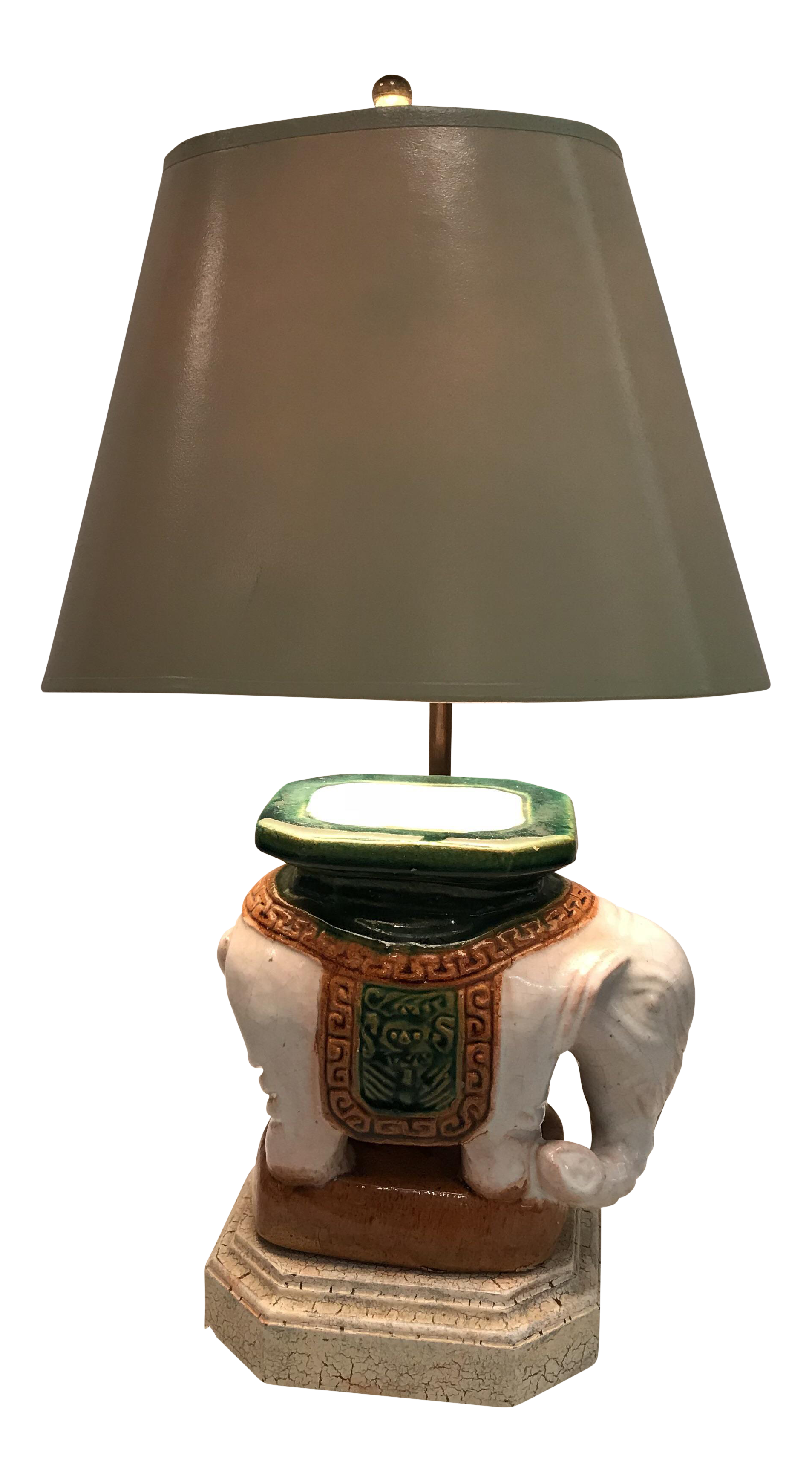Vintage Ceramic Elephant Garden Stool Lamp | Chairish