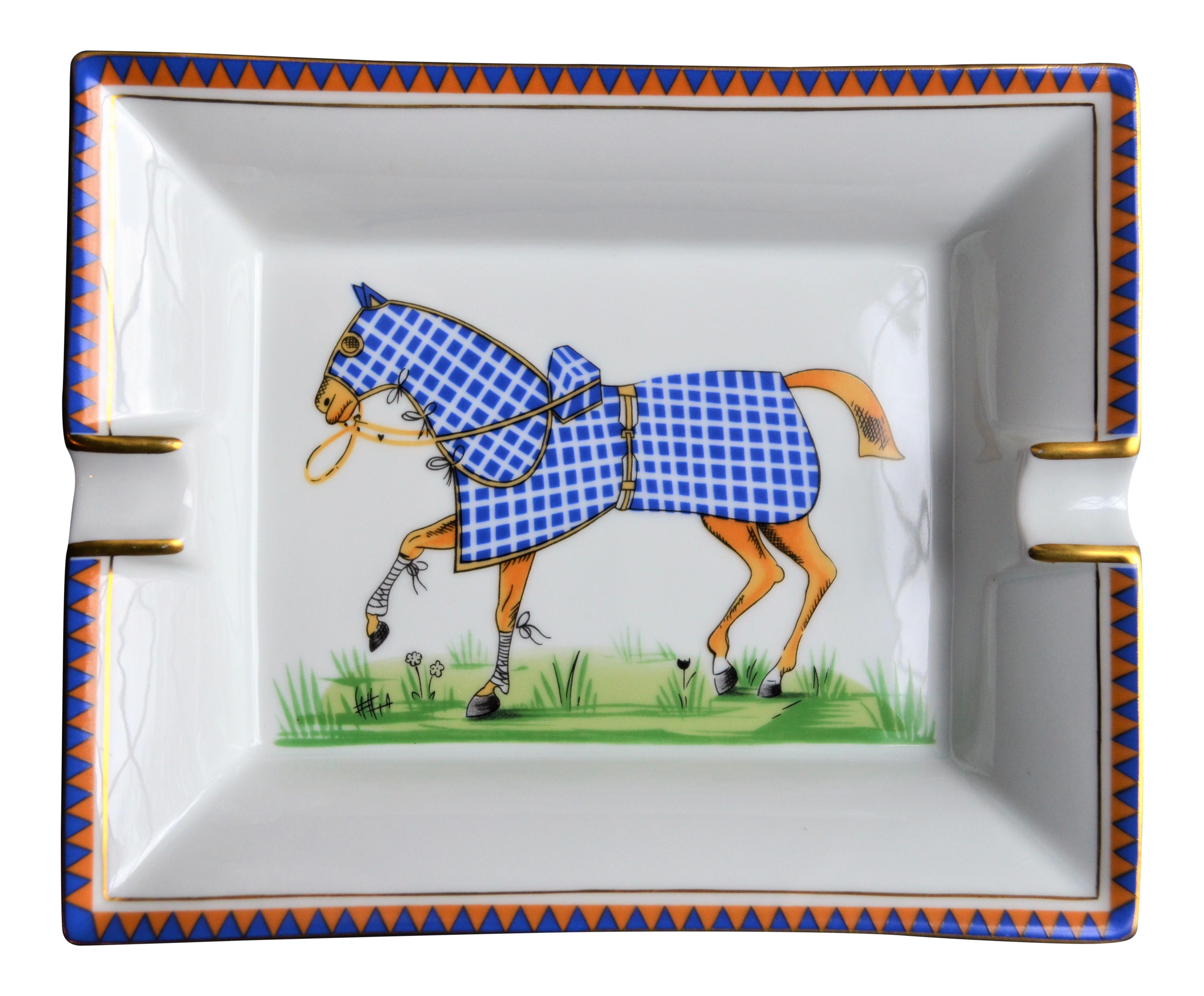Hermes porcelain equestrian ashtray numbered chairish jeuxipadfo Gallery
