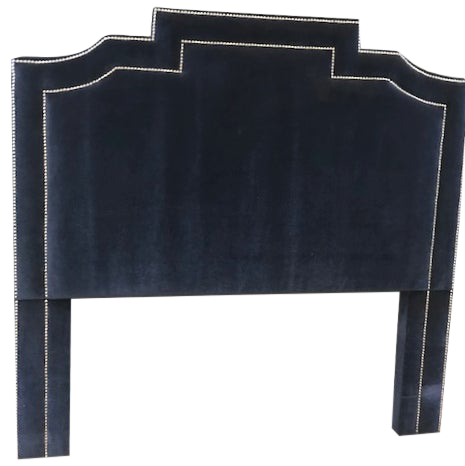 Navy Blue Genuine Mohair Upholstered Queen Size Headboard With Chrome Accents Chairish