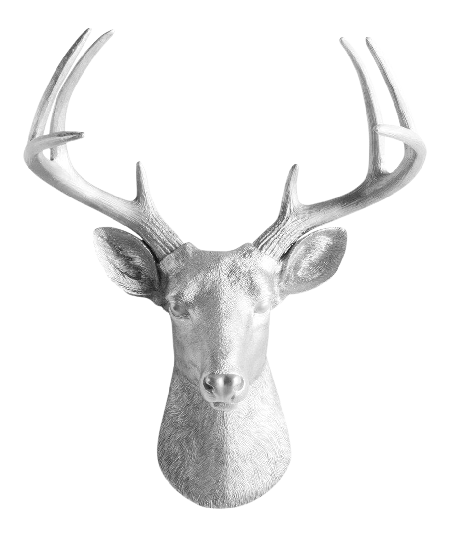 Wall charmers silver faux deer head mount bust chairish - Silver stag head wall mount ...