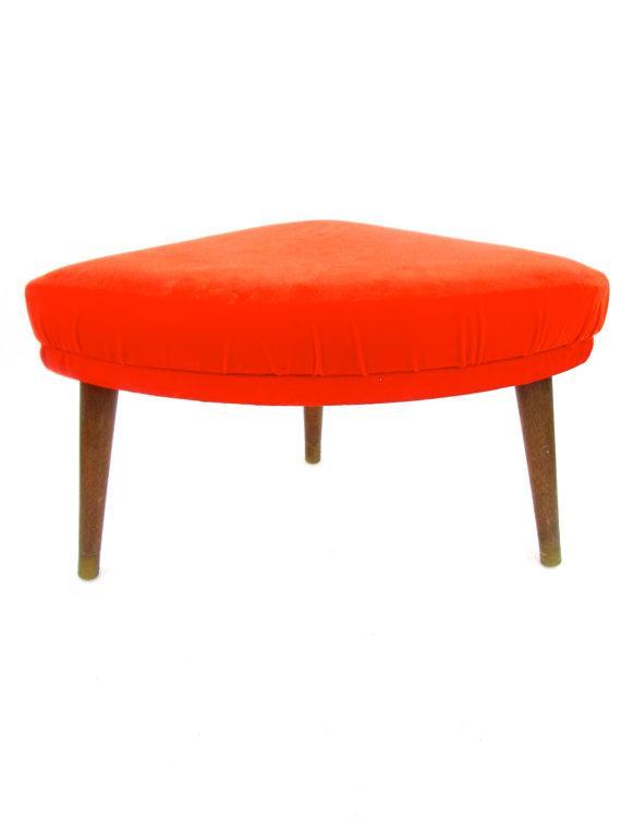 Mid Century Modern Triangular Orange Footstool Chairish