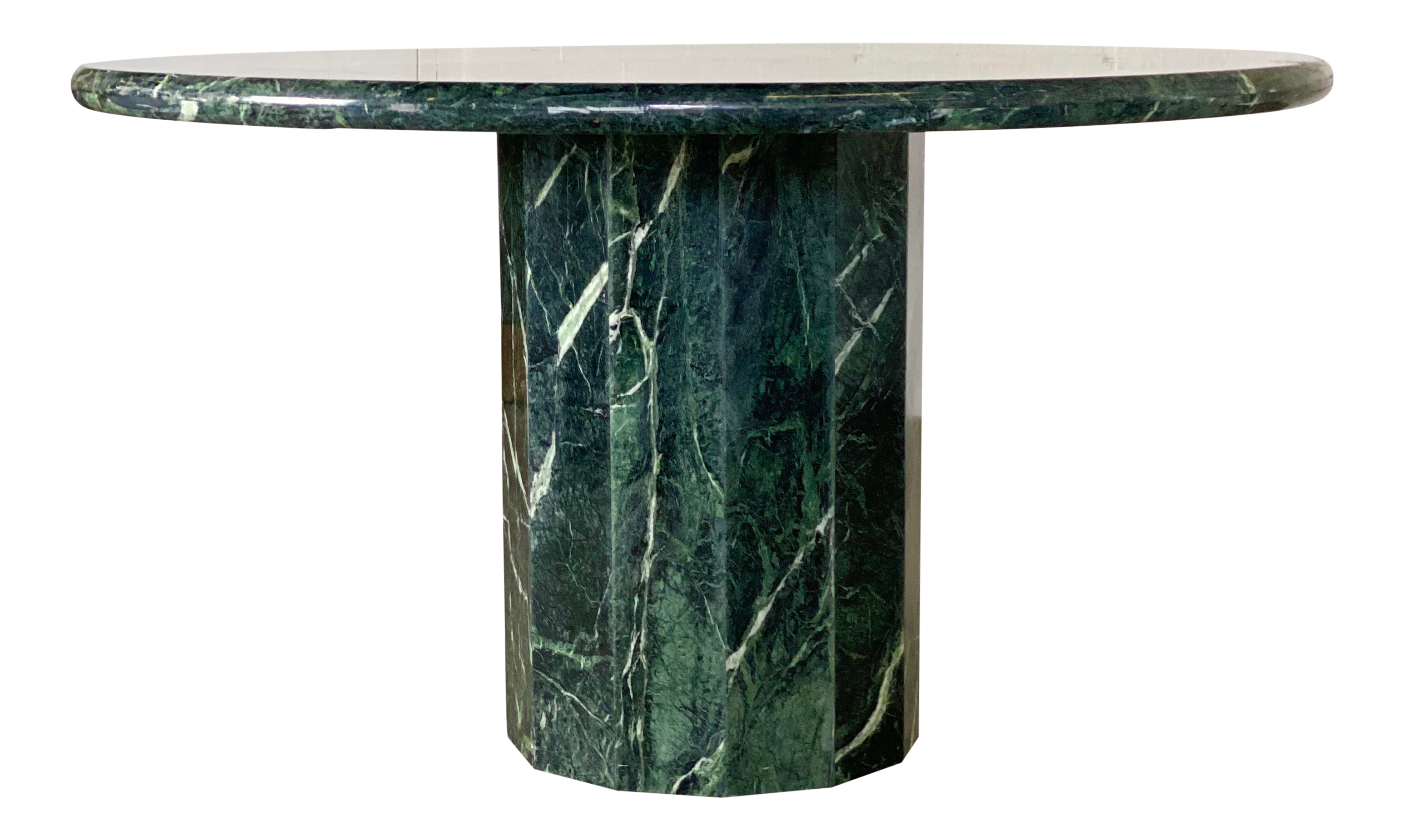 1970s Italian Round Emerald Green Marble Stone Dining Or Center Table Chairish
