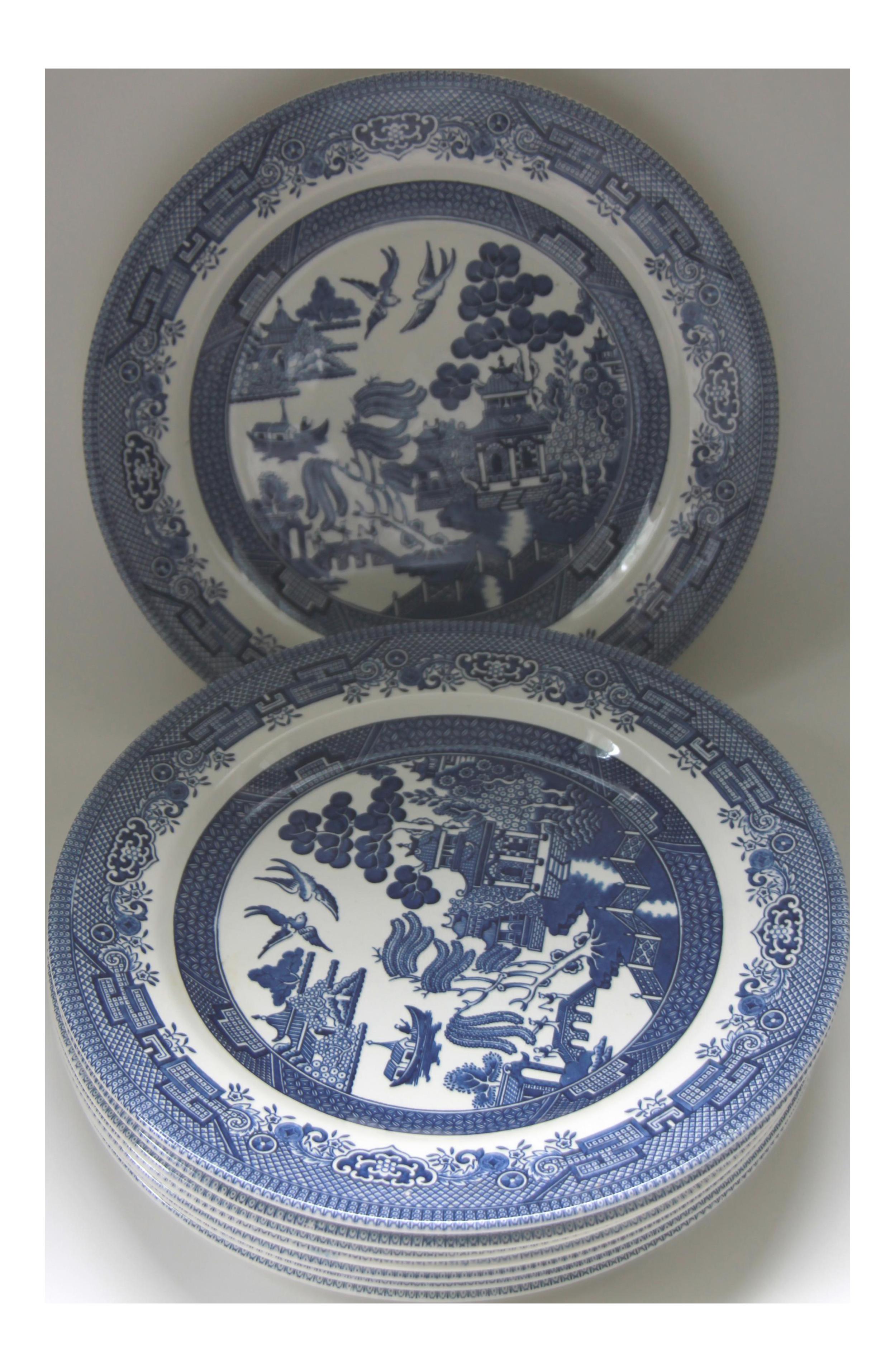 sc 1 st  Chairish & Blue Willow Churchill Transferware Dinner Plates - Set of 8 | Chairish