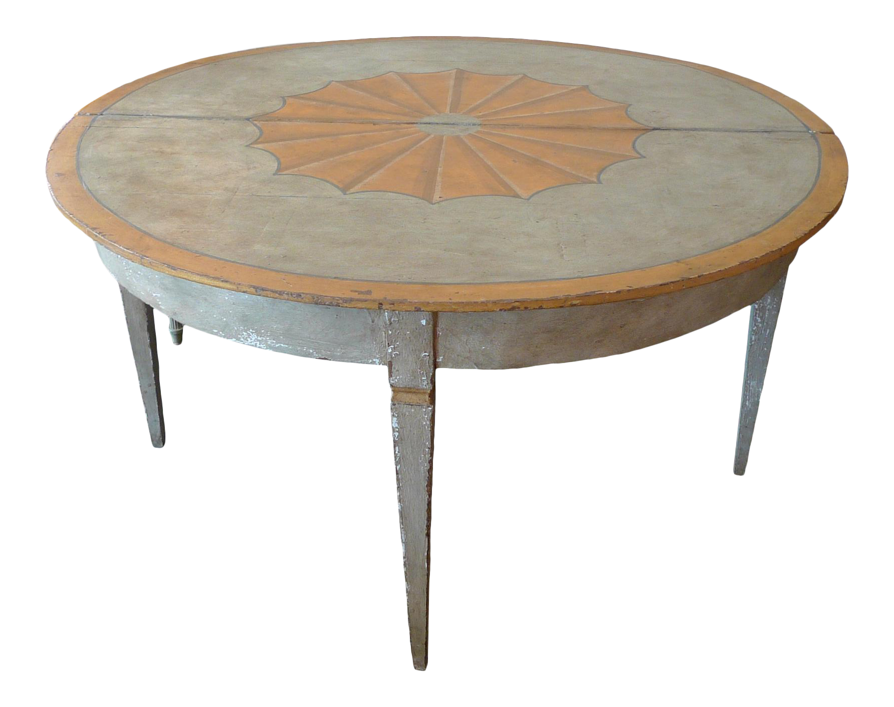 - French 19th Century Painted Country Round Folding Dining Table And