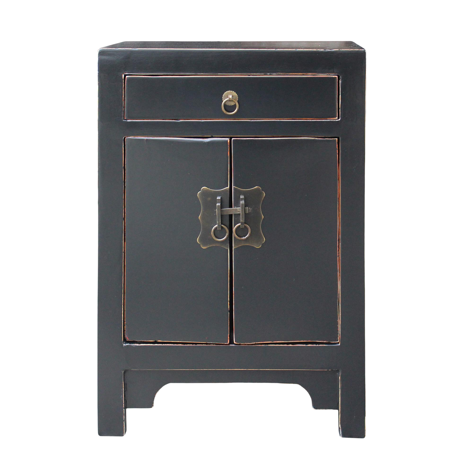 Oriental Black Lacquer Round Moon Face End Table Nightstand