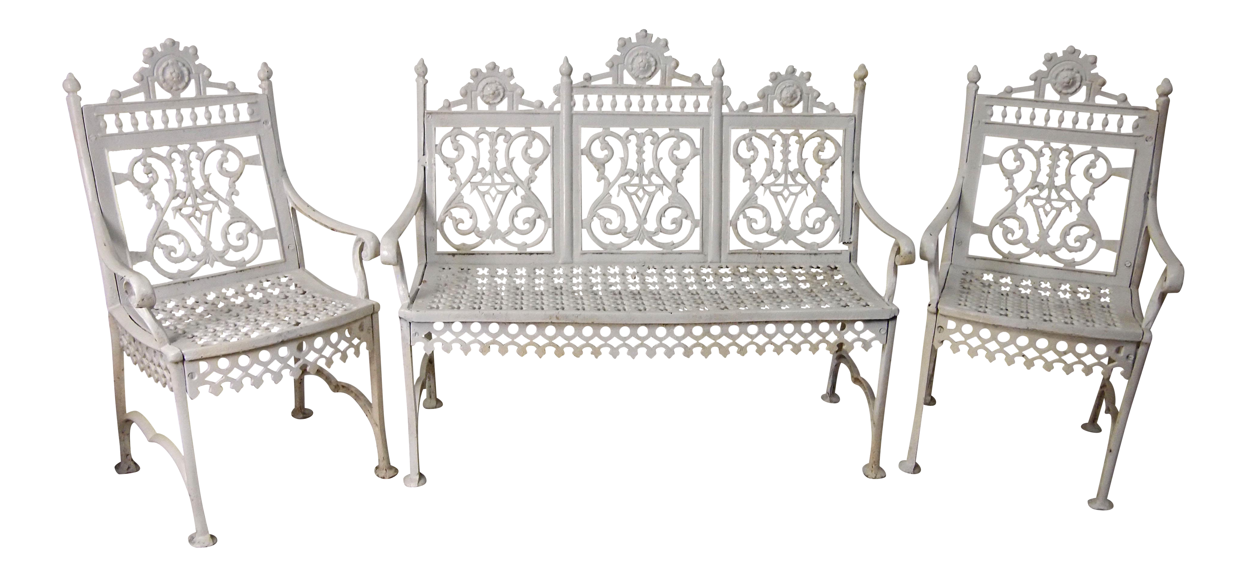 White Painted Cast Iron Garden Suite Set of 3