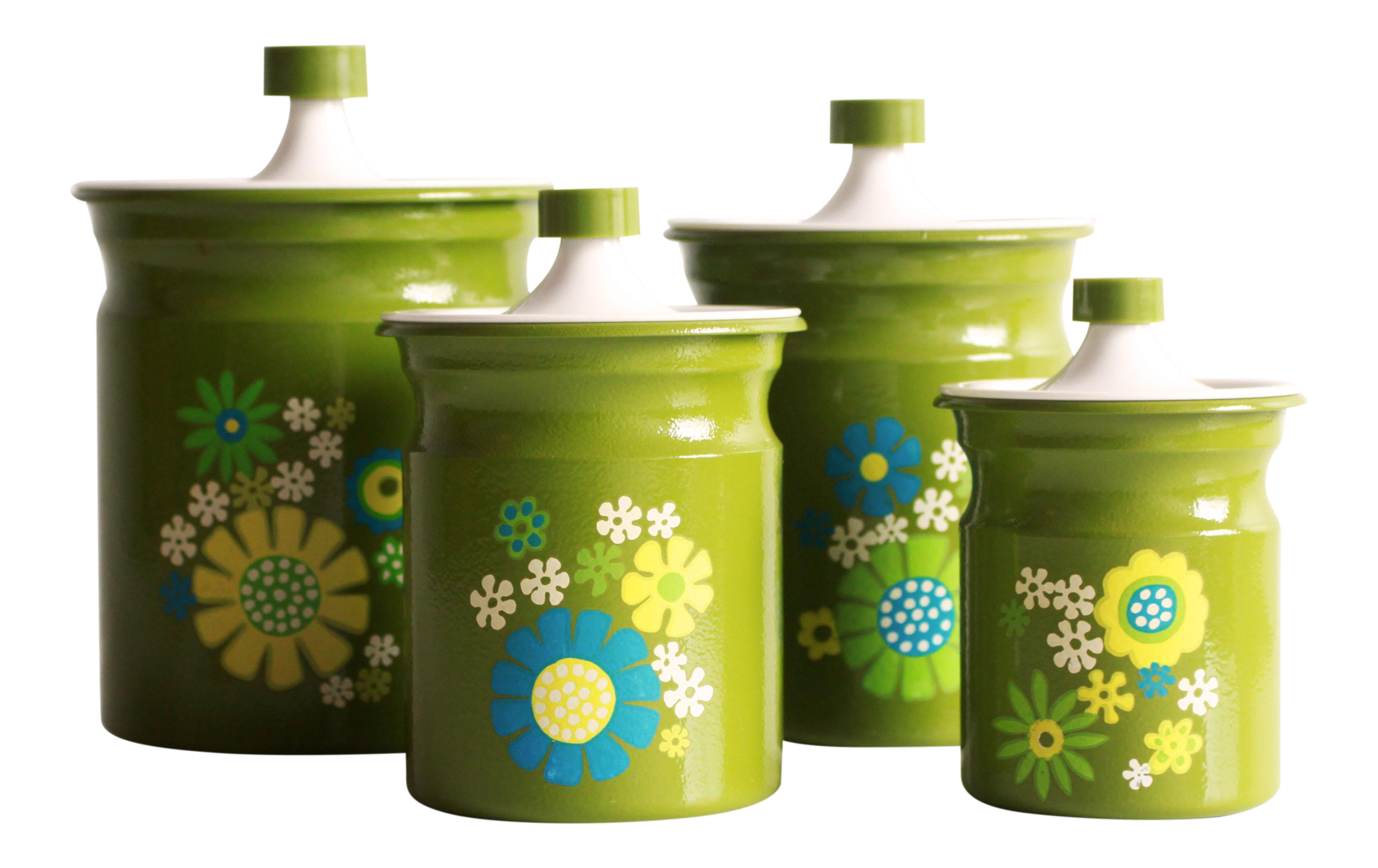 Vintage 1970s Flower Power Green Kitchen Canister Set Of 4 Chairish