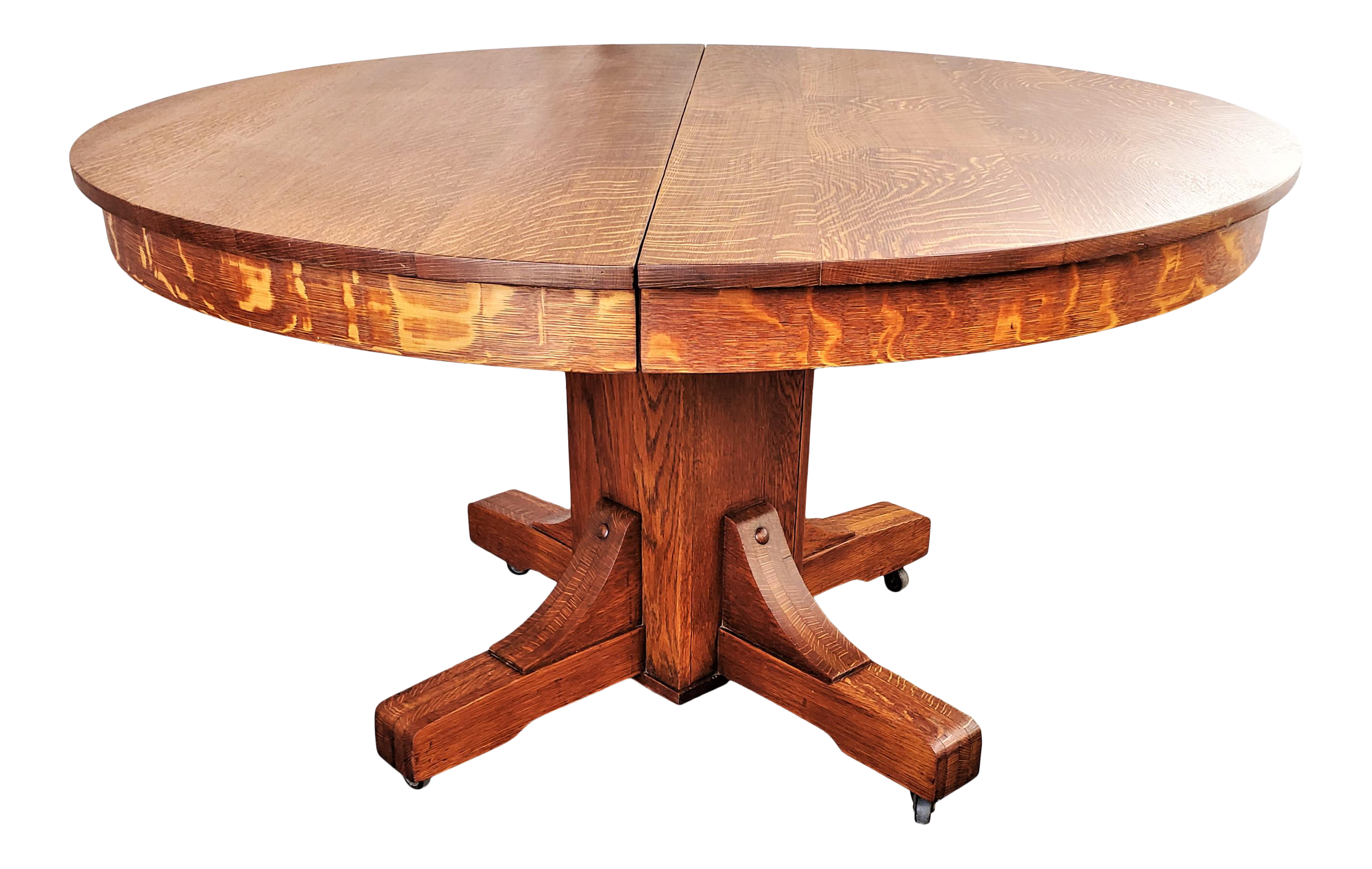 Antique Arts & Crafts Mission Round Oak Dining Table With 9 Leaves 9