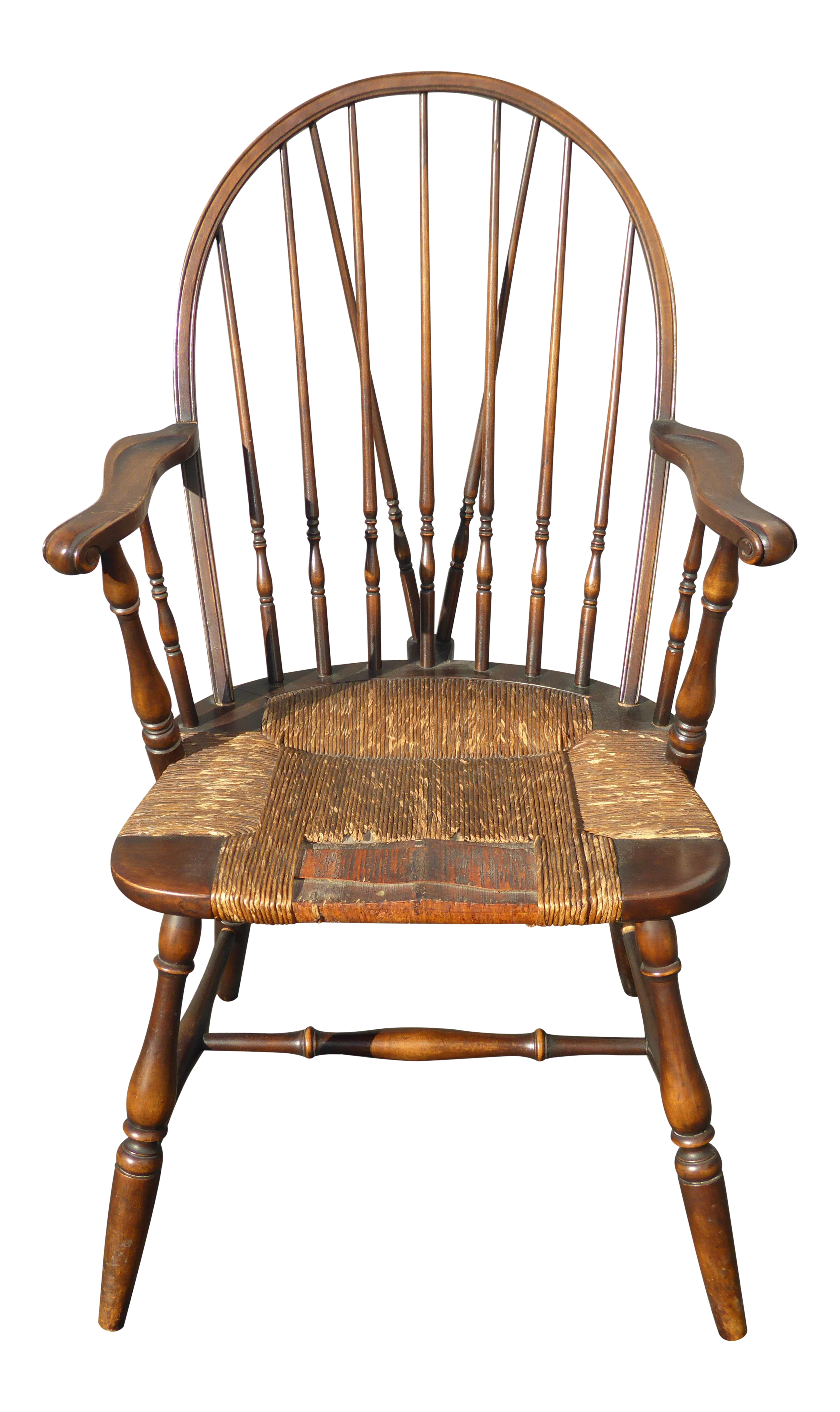 Solid Wood Rush Seat Rustic Windsor Arm Chair | Chairish