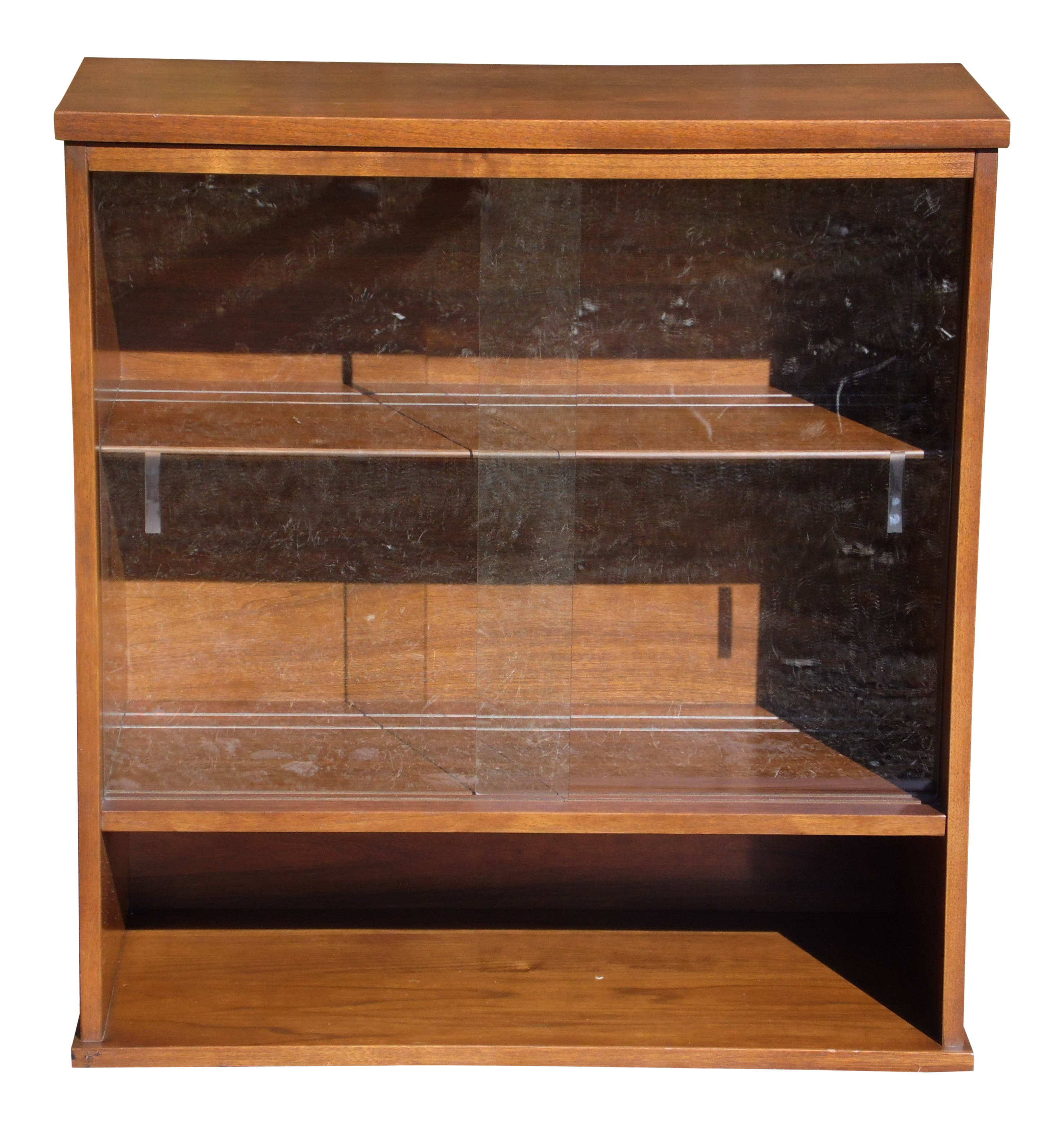 Vintage Mid Century Modern Walnut Jr Hutch Small Glass Display Cabinet Bookcase