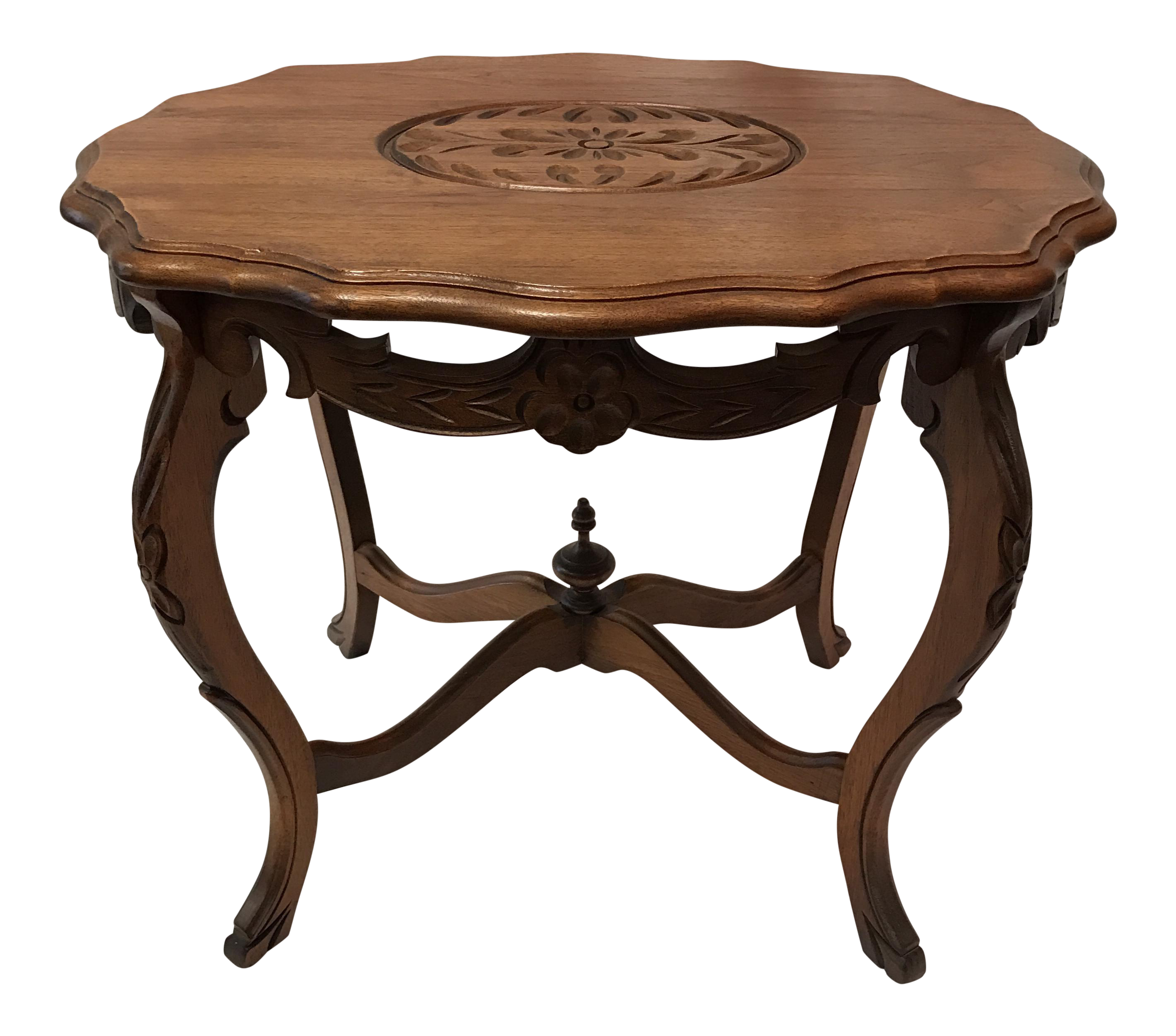 Carved Wood Side Table ~ Vintage wood carved walnut side table chairish
