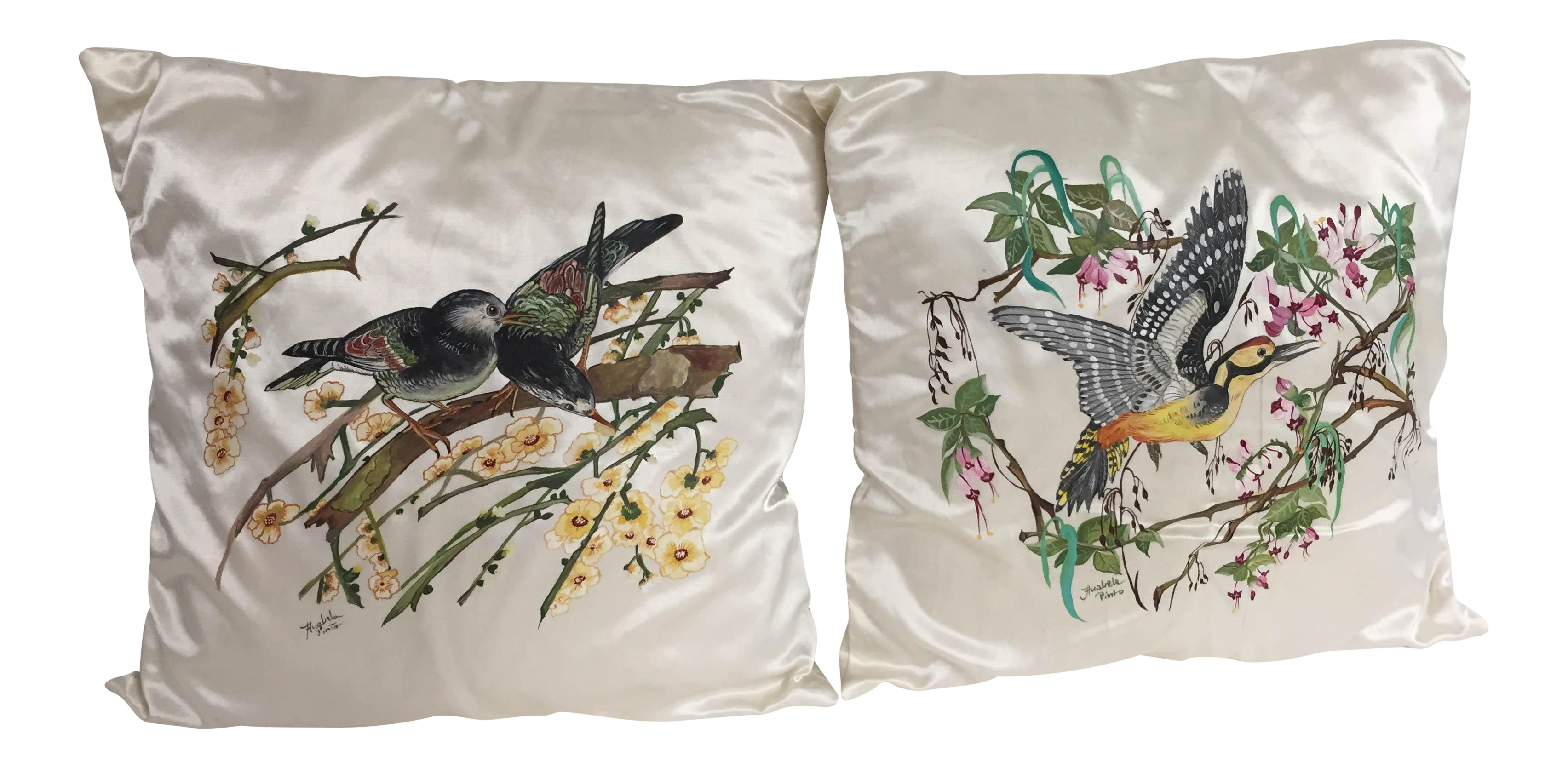 Hand painted silk pillows a pair chairish for Hand painted pillows