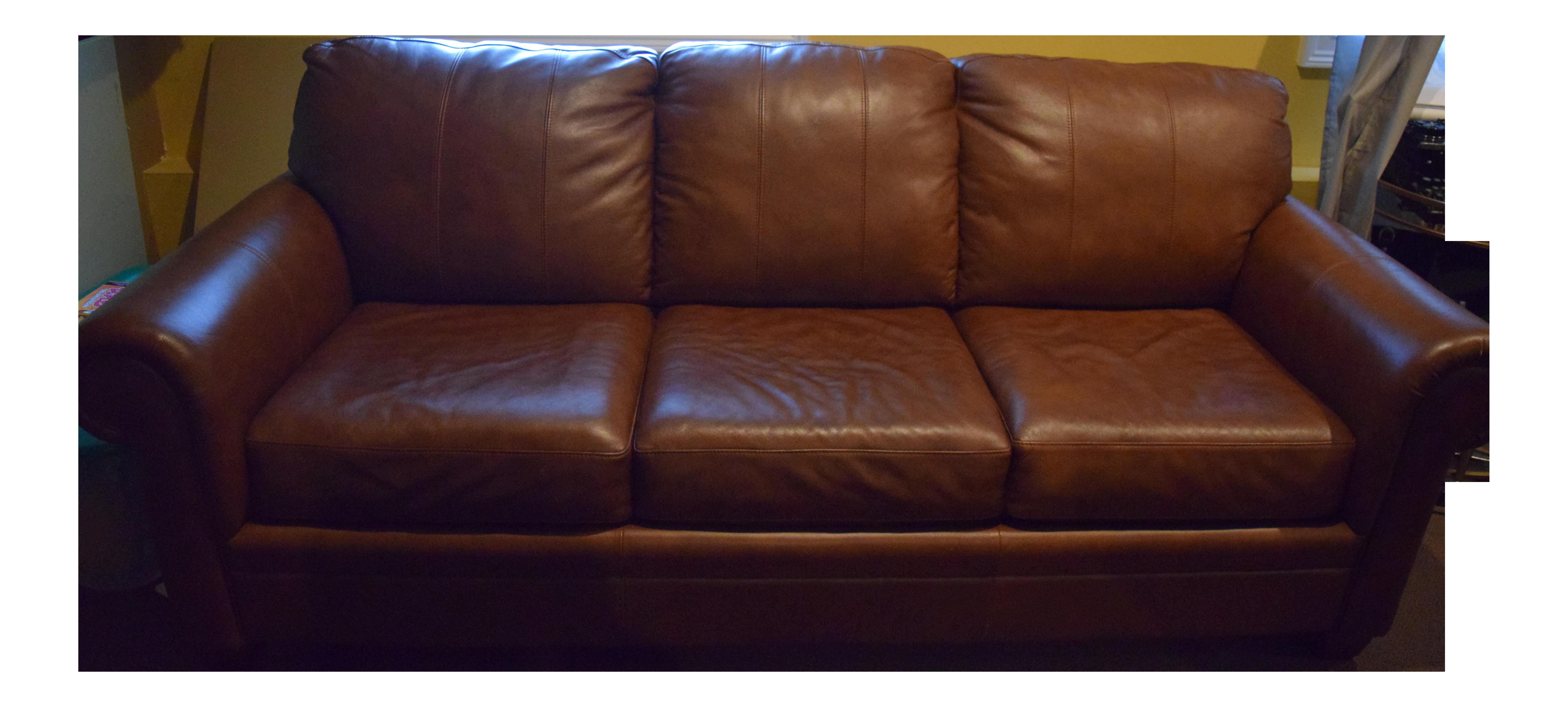Ethan Allen Brown Leather Sleeper Sofa   Queen Coil U0026 Foam Mattress, Saddle  Brown | Chairish