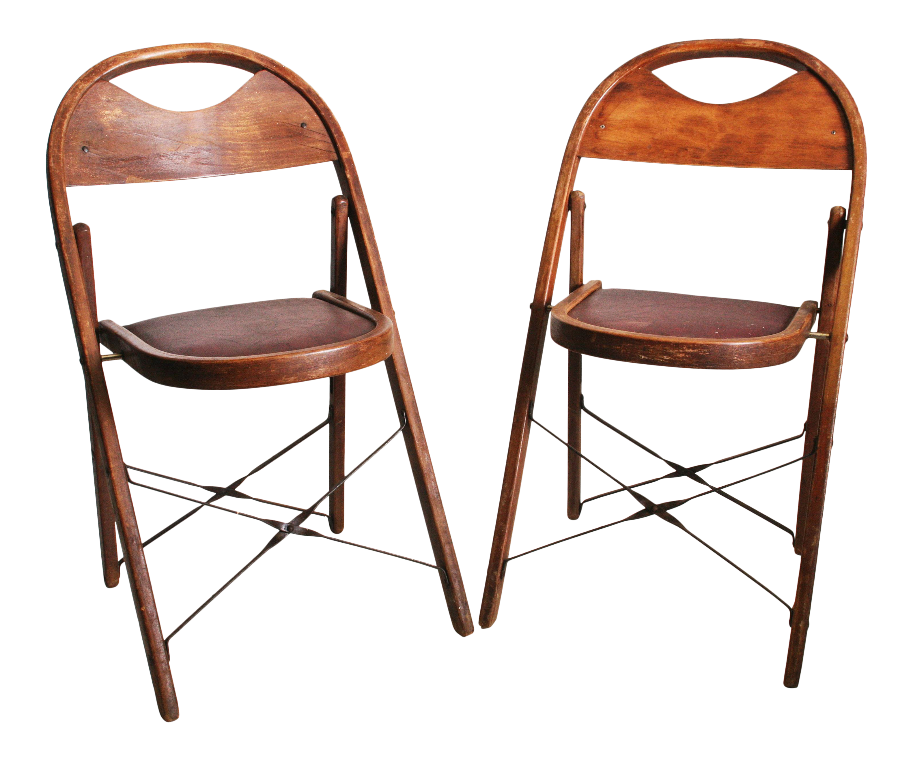 Vintage Bentwood Wood Folding Chairs A Pair