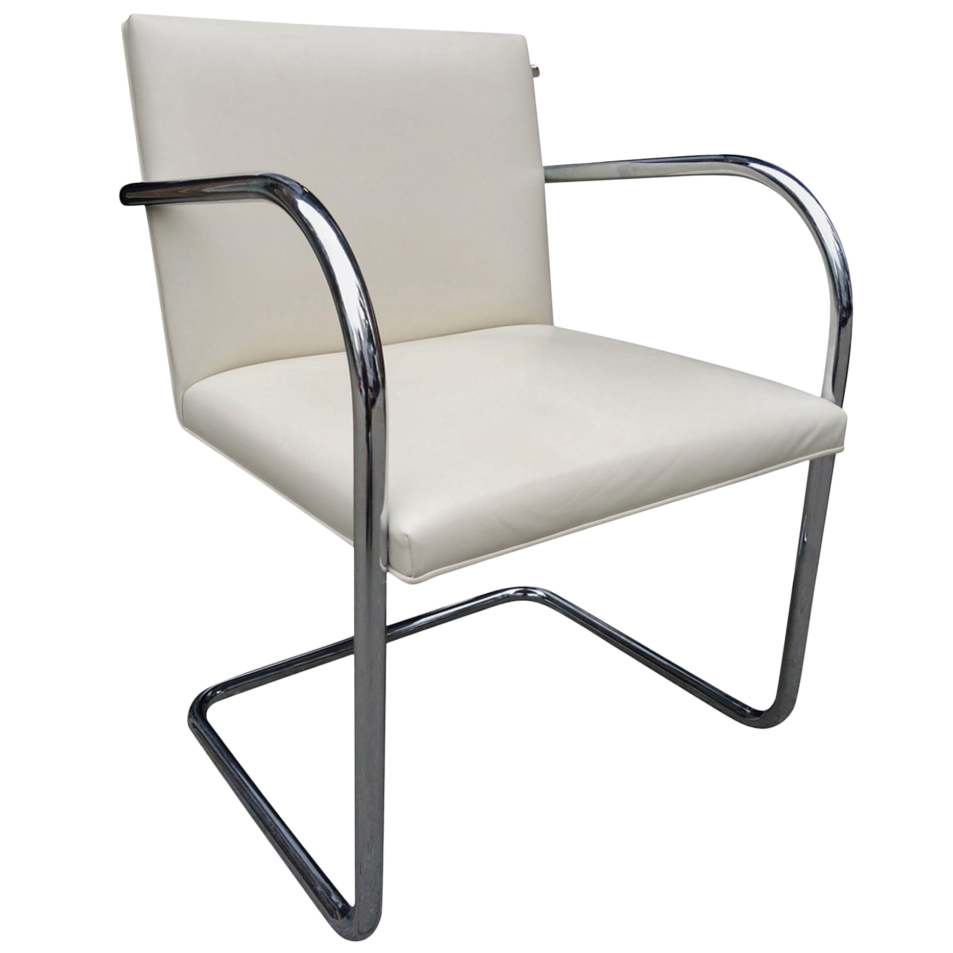 Mid Century Knoll Brno Chairs By Mies Van Der Rohe In White Chairish